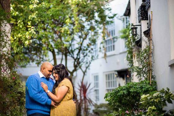 Creative wedding photographer, pre-wed shoot, engagement shoot, Hampstead, London