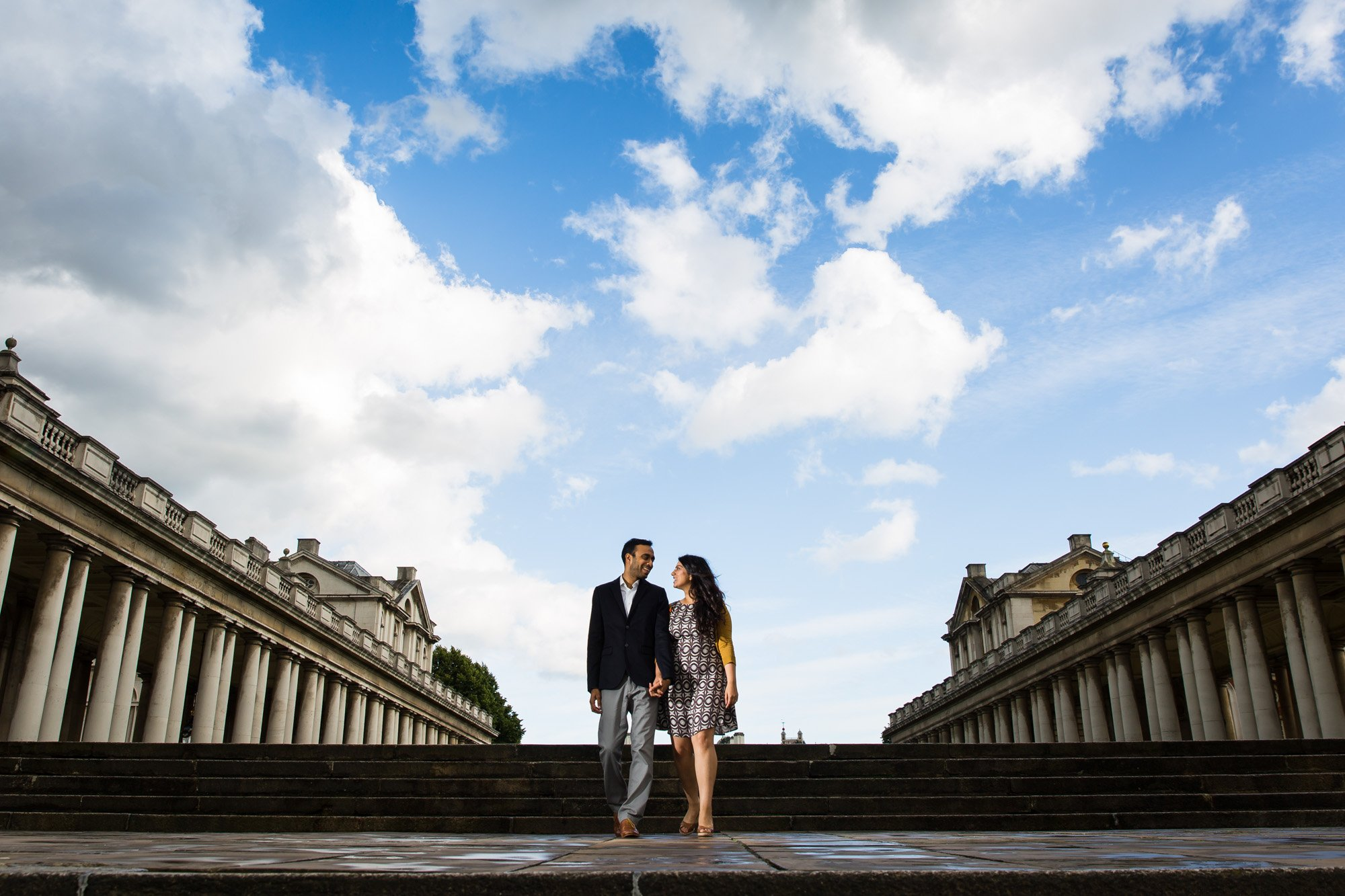 London Asian wedding photographer, pre-wed shoot, Greenwich, what to wear to your engagement shoot