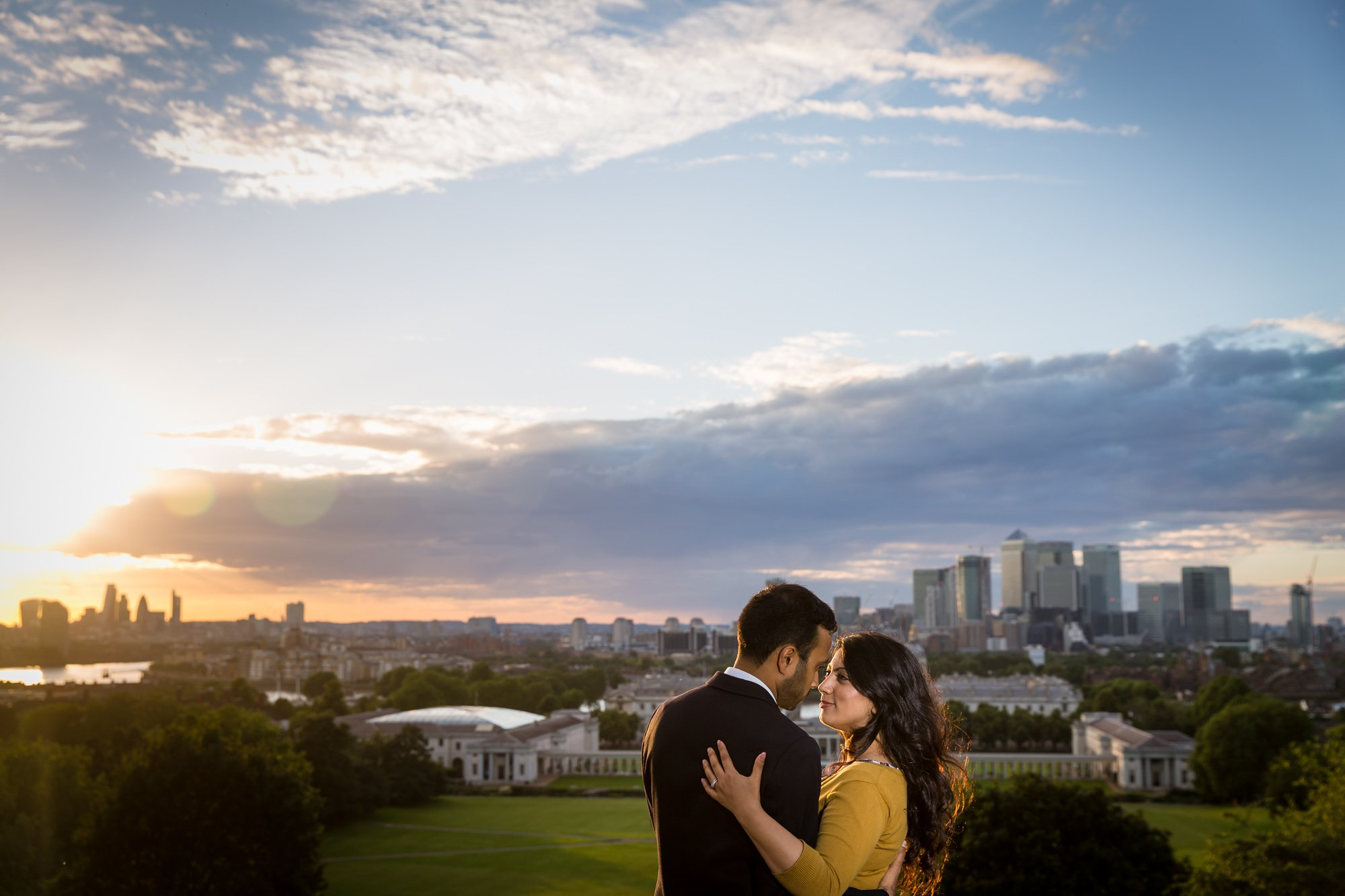 London Asian wedding photographer, pre-wed shoot, Greenwich, golden hour