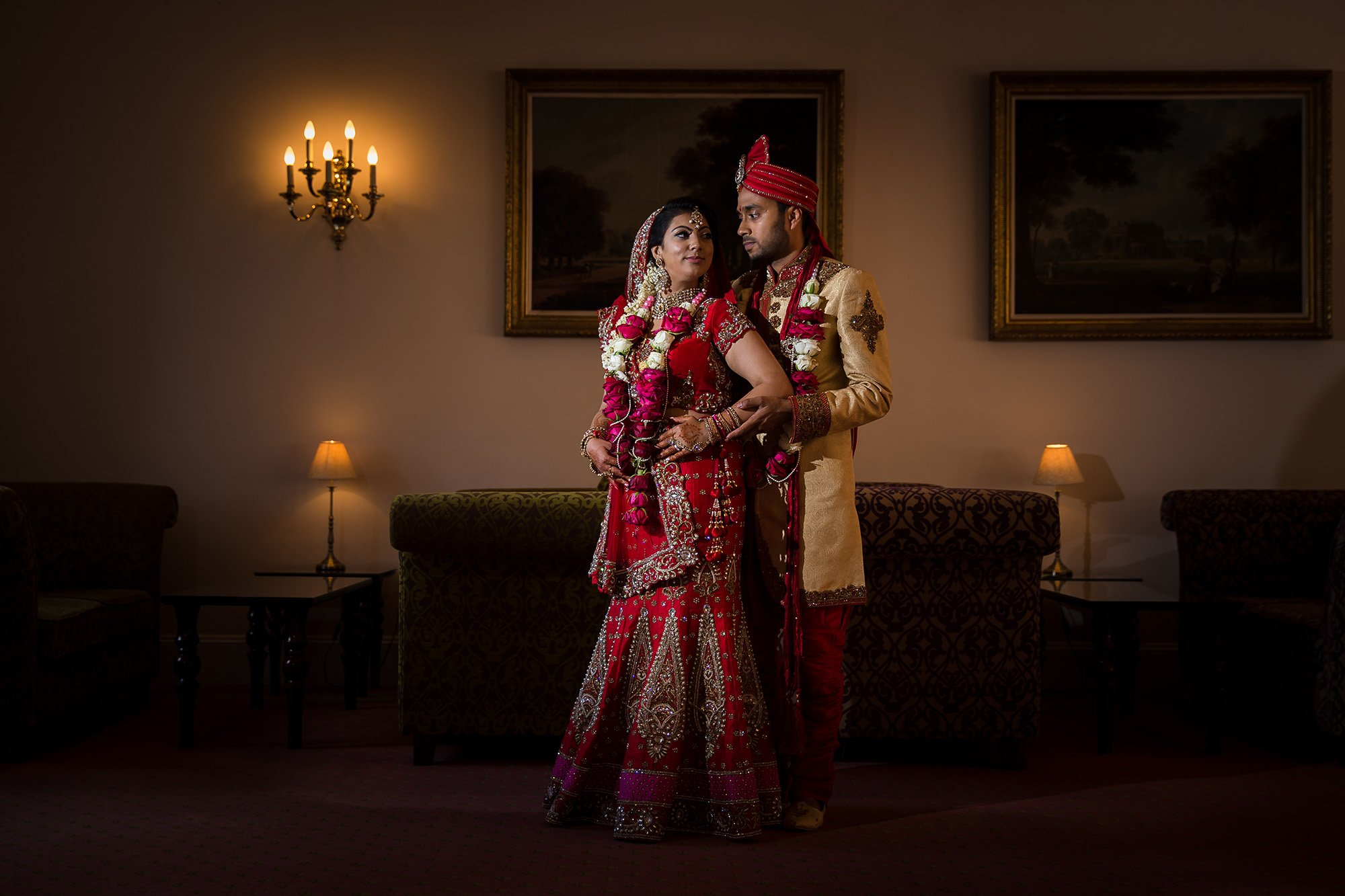 Indian bride and groom, Whittlebury Hall