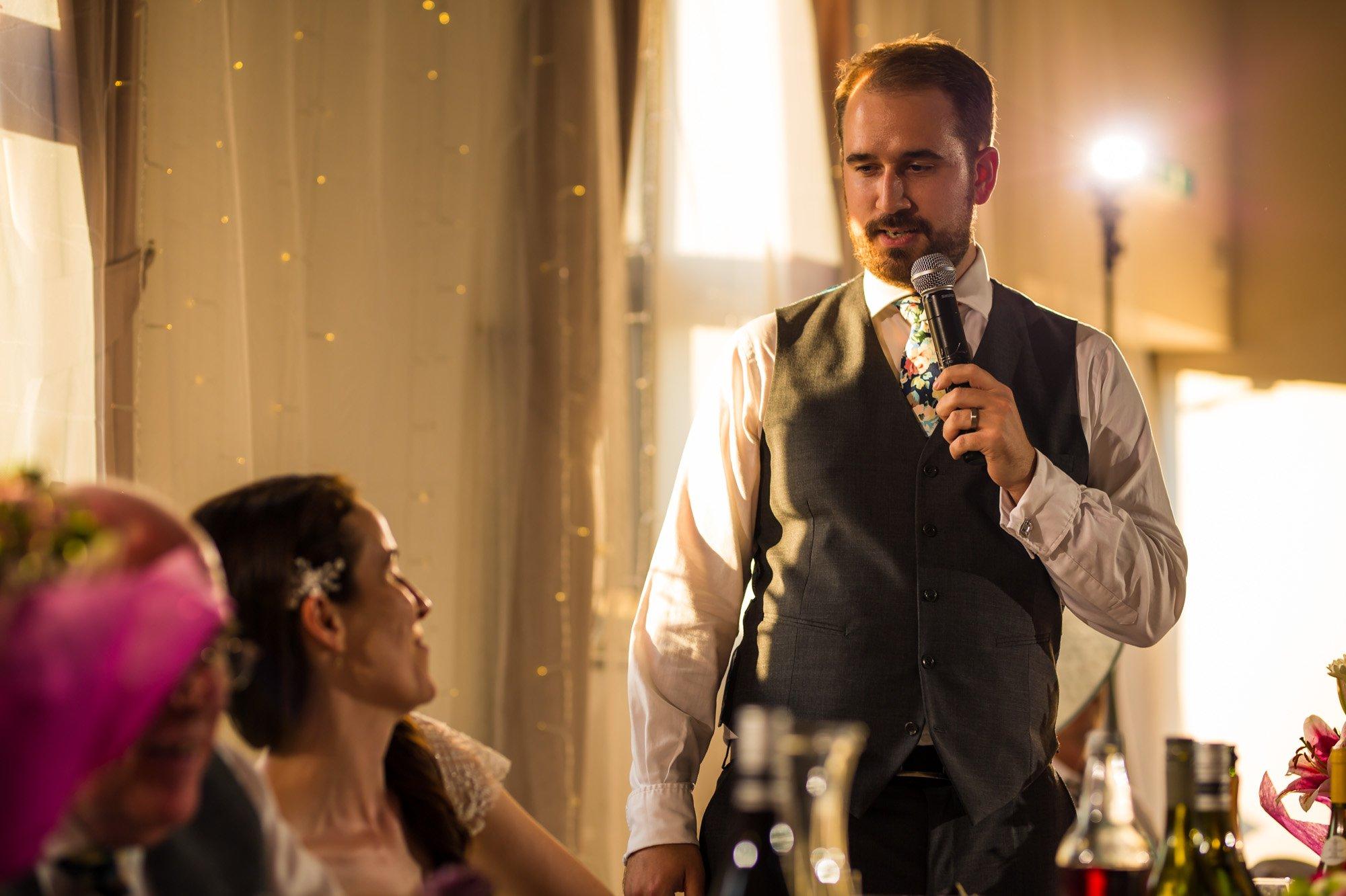 Hertfordshire wedding photographer, Cottered Village Hall, grooms speech