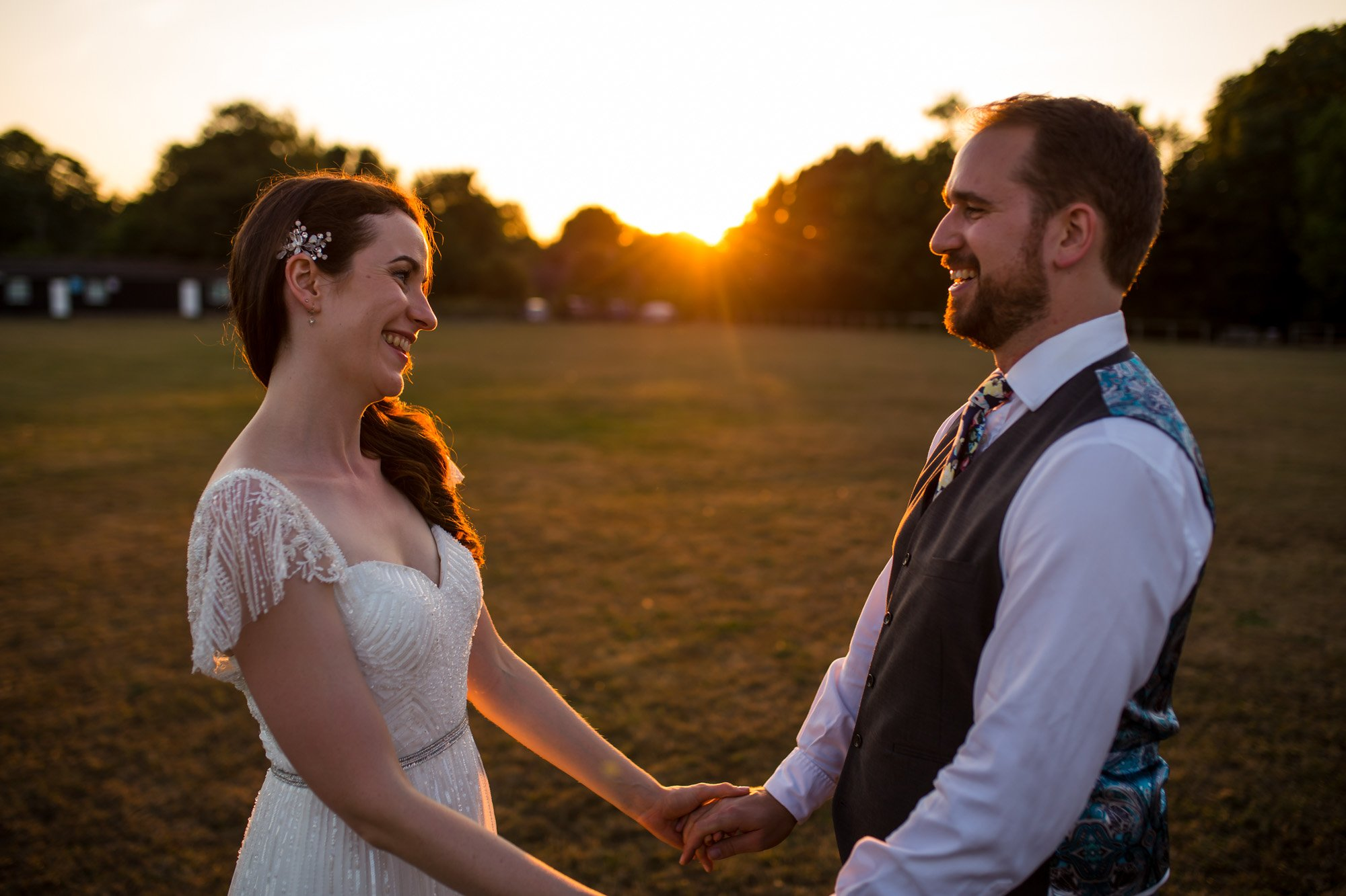Hertfordshire wedding photographer, Cottered Village Hall, sunset portrait
