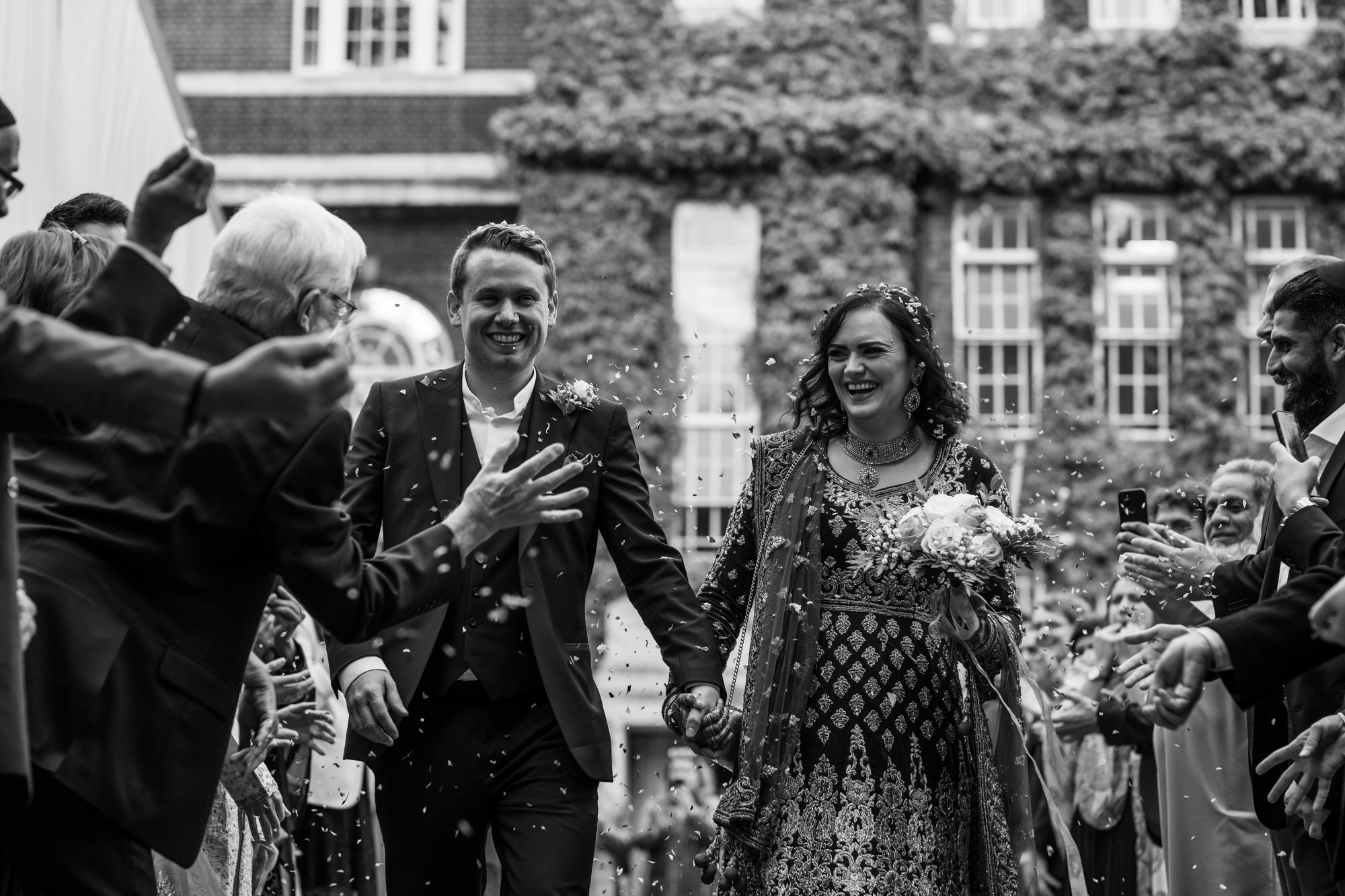 Indian wedding photographer in London, Regents University London, confetti