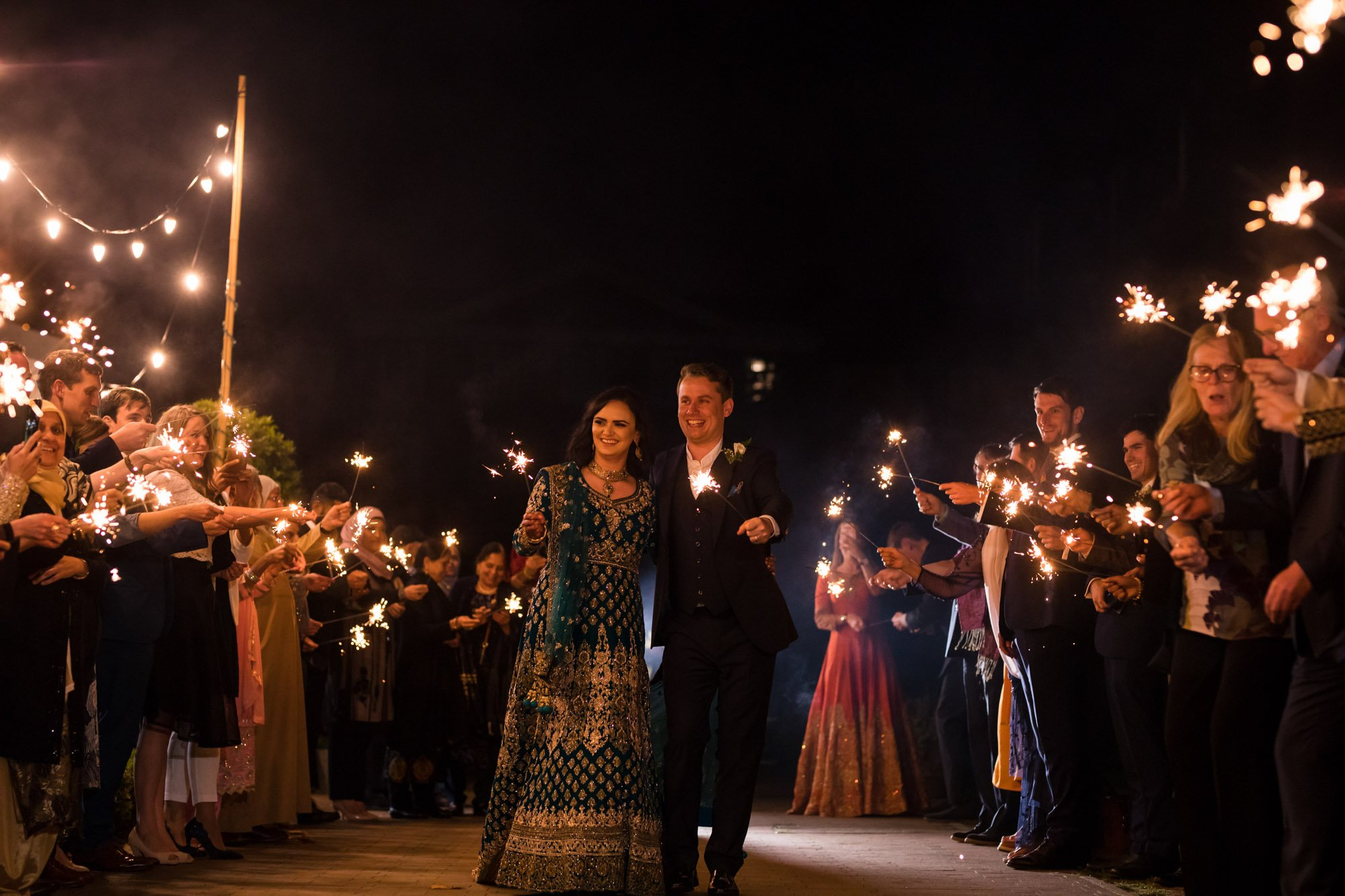 Indian wedding photographer in London, Regents University London, sparkler exit