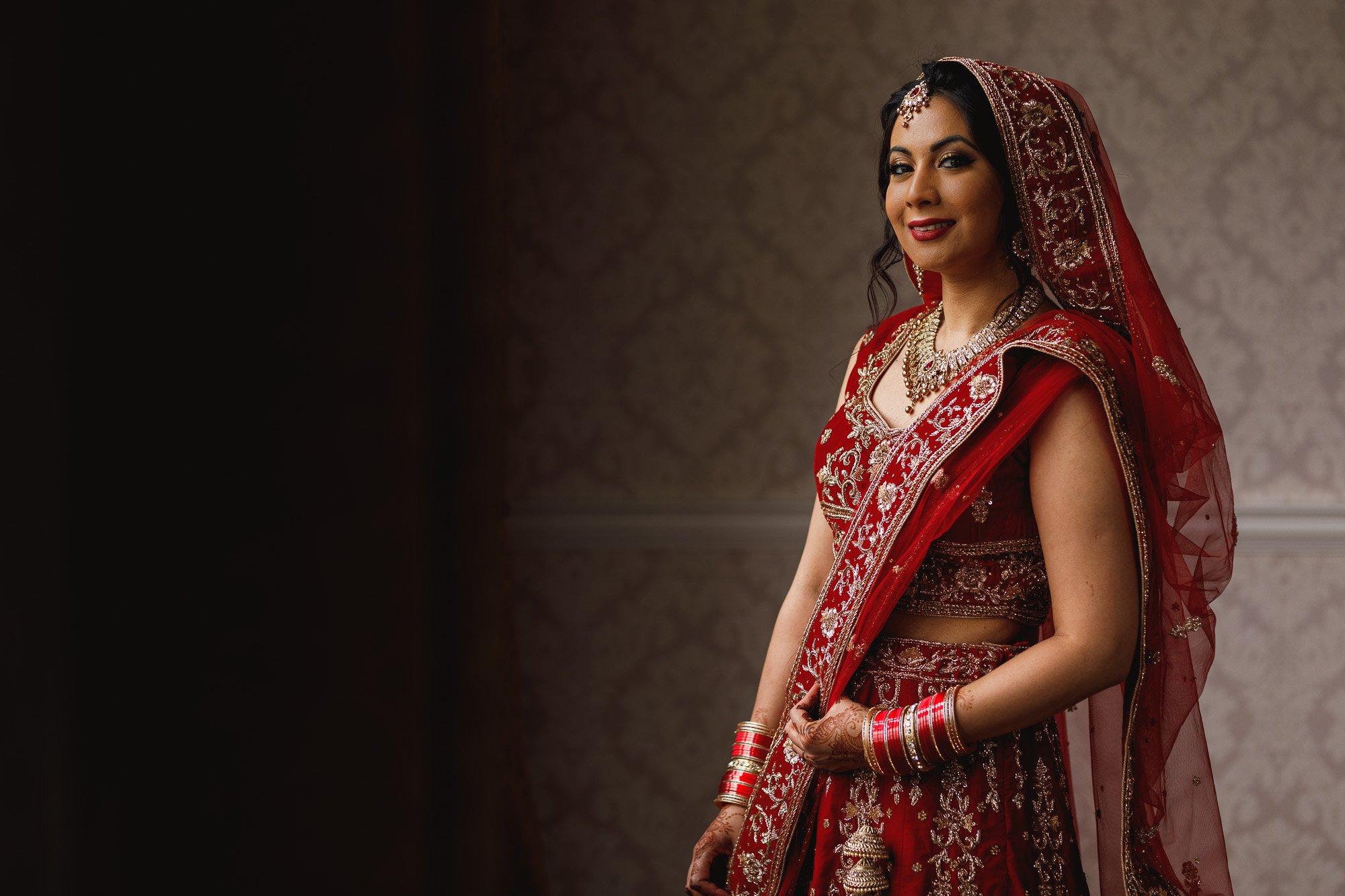 Dunchurch Park Hotel, Midlands Asian Wedding Photographer, bride portrait