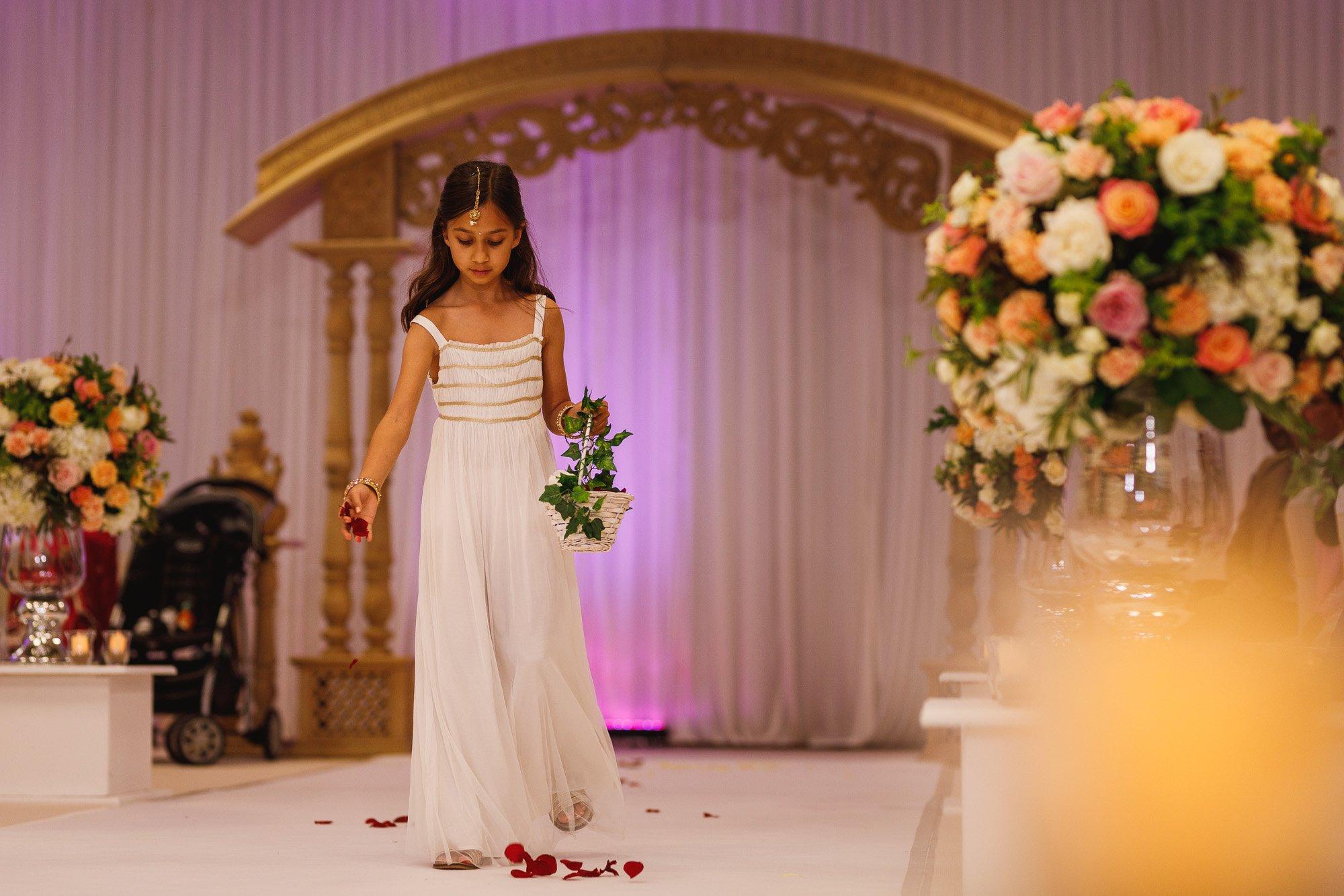 Dunchurch Park Hotel, Midlands Asian Wedding Photographer, flower girl