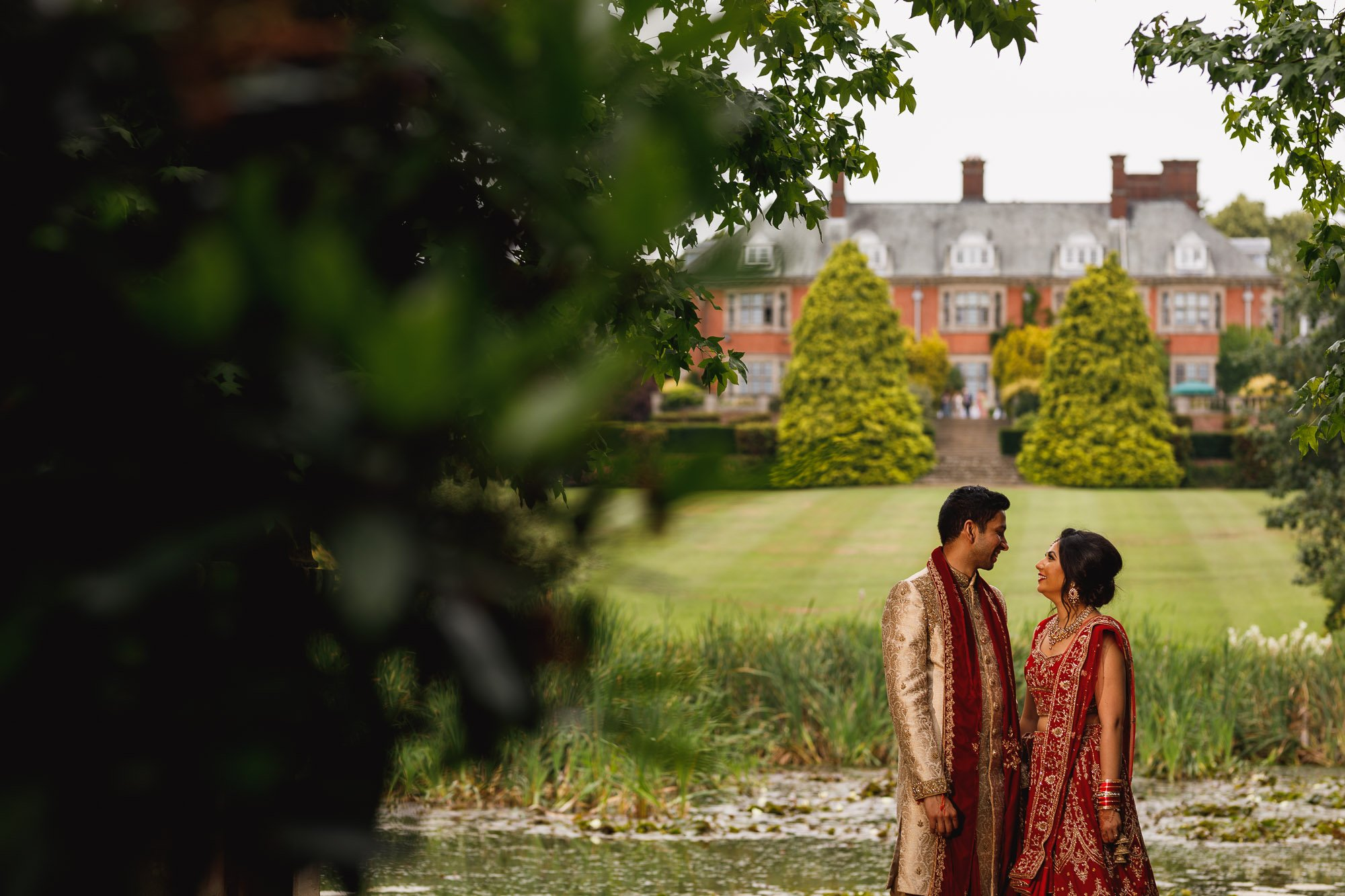 Dunchurch Park Hotel, Asian wedding photographer Midlands, bride and groom portrait