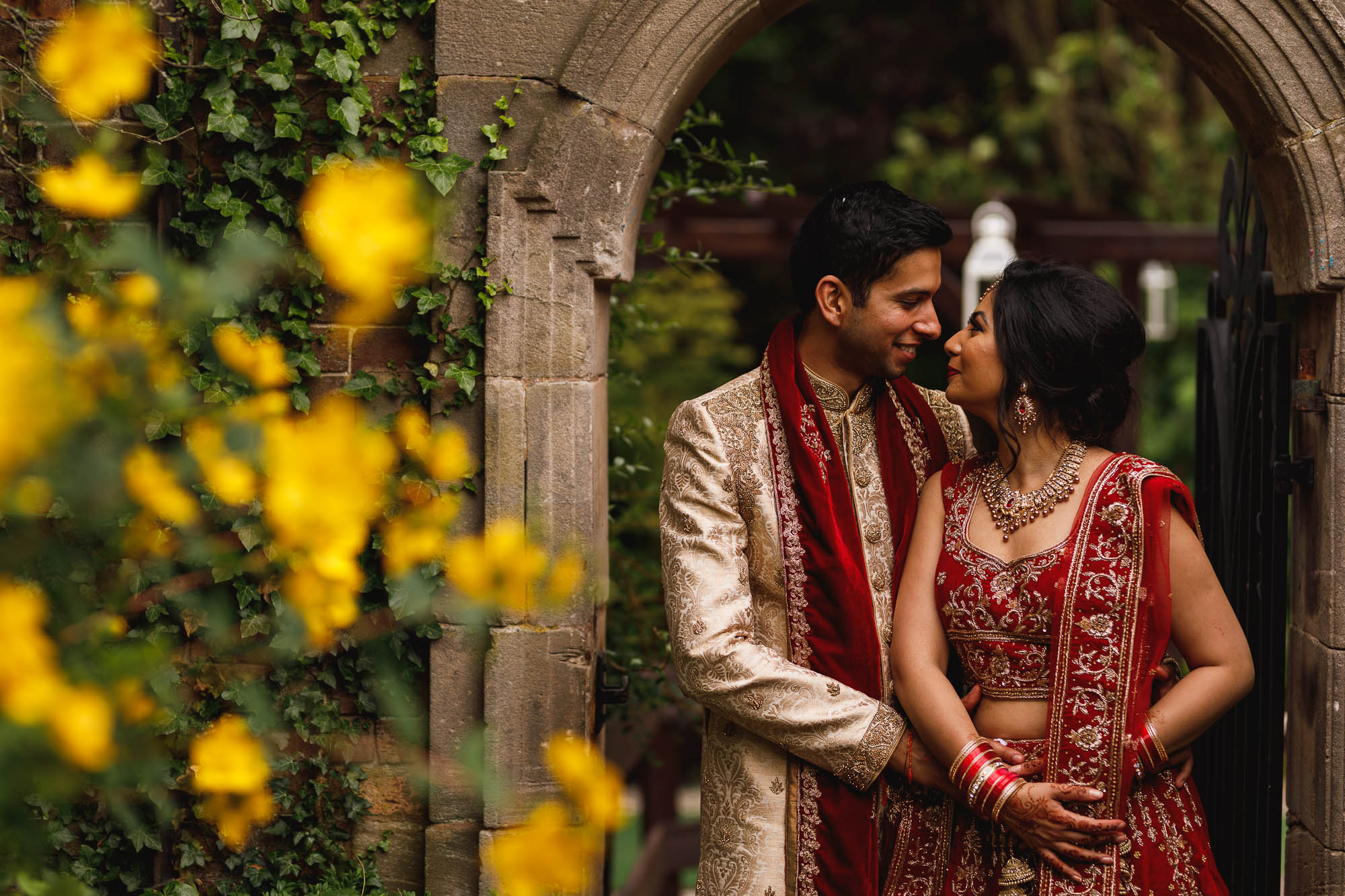 Dunchurch Park Hotel, Midlands Asian Wedding Photographer, bride and groom portrait