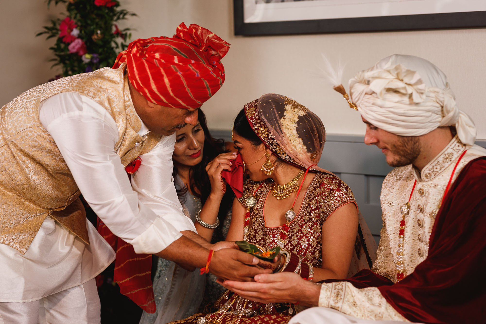 De Vere Wokefield Estate, Asian wedding photographer, brides emotions, mandap