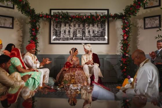 De Vere Wokefield Estate, Asian wedding photographer, hindu ceremony, bride and groom