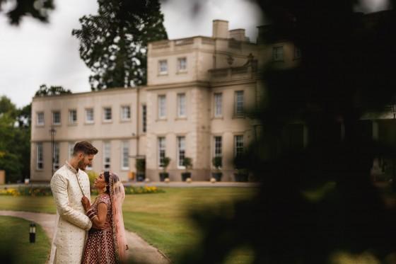 De Vere Wokefield Estate, Asian wedding photographer, bride and groom portrait