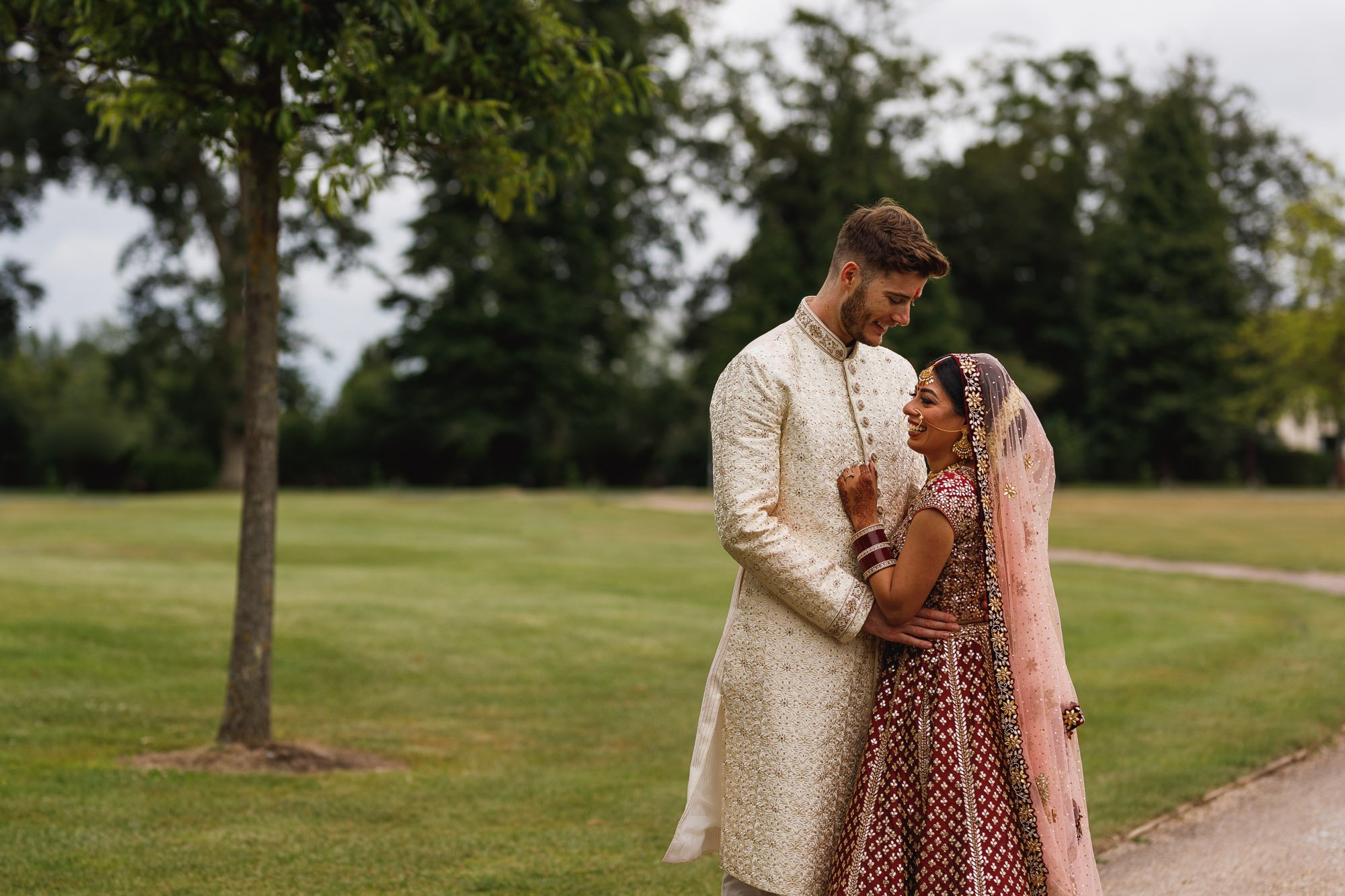De Vere Wokefield Estate, Asian wedding photographer, bride and groom portrait