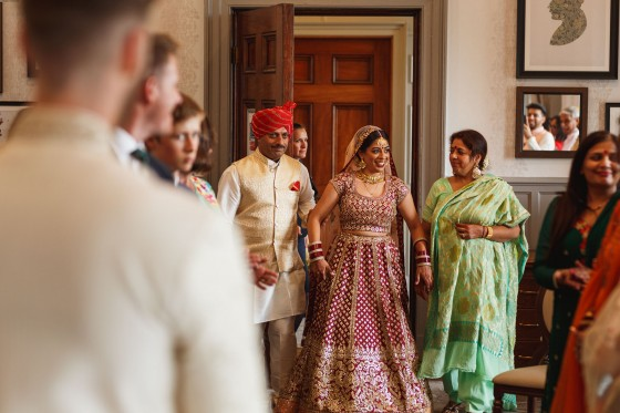 De Vere Wokefield Estate, Asian wedding photographer, bride entrance, civil ceremony
