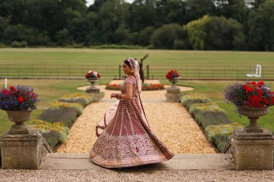 De Vere Wokefield Estate, Asian wedding photographer, bride portrait, spinning