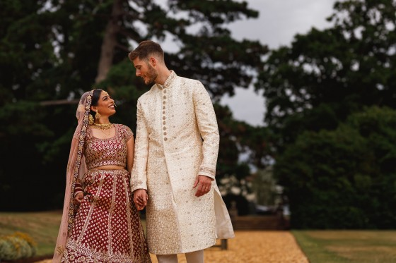 De Vere Wokefield Estate, Asian wedding photographer, grooms entrance, bride and groom portrait