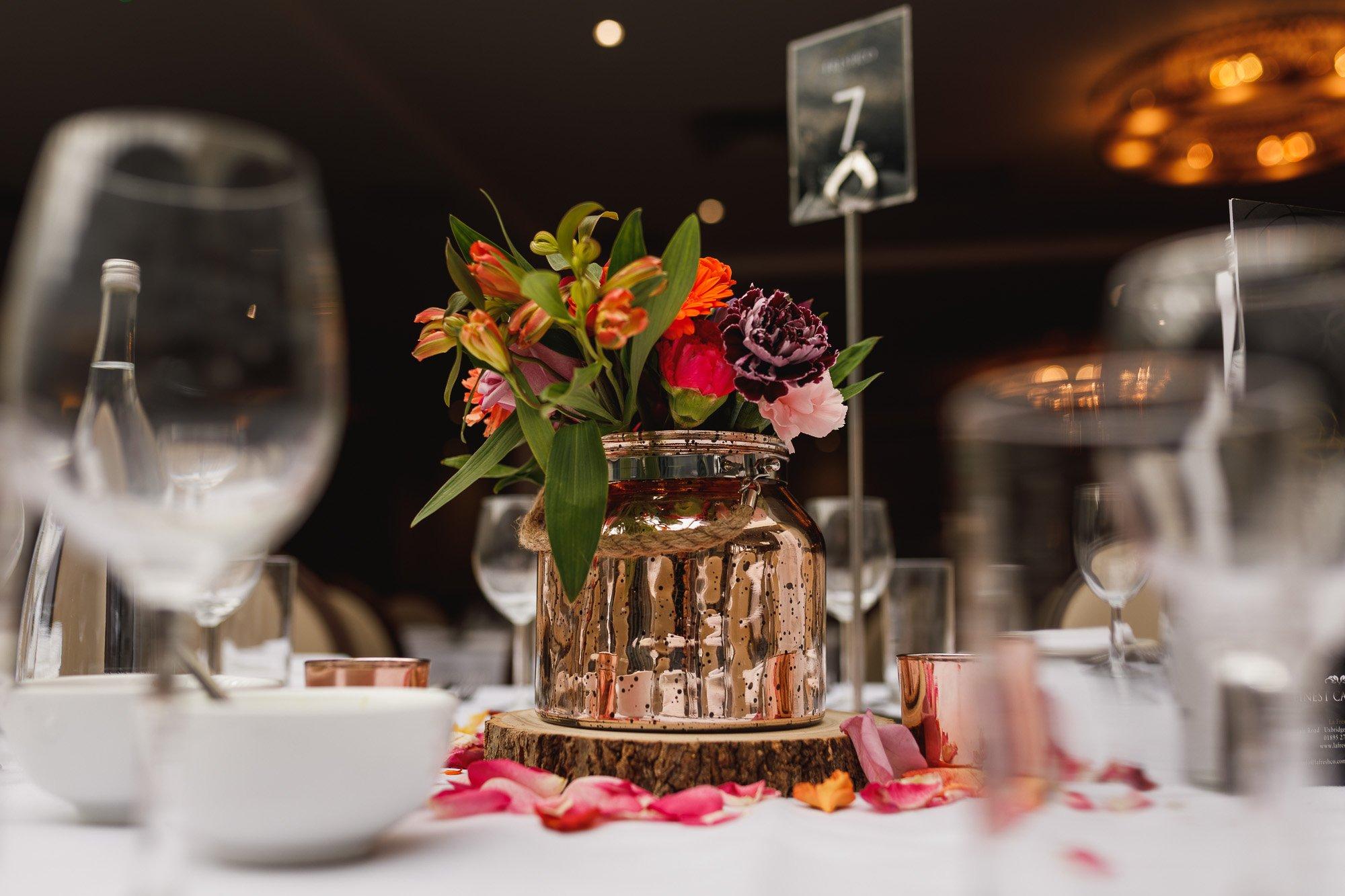 De Vere Wokefield Estate, Asian wedding photographer, reception, centre pieces, fresh flowers