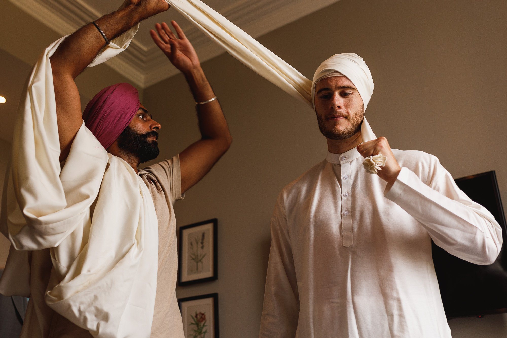 De Vere Wokefield Estate, Asian wedding photographer, groom prep, pagh, turban