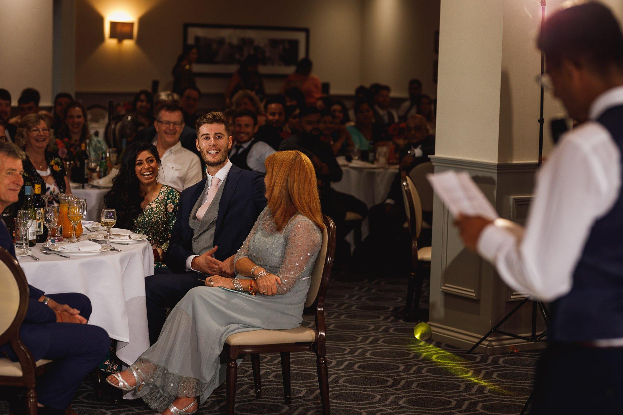 De Vere Wokefield Estate, Asian wedding photographer, reception, speech reactions