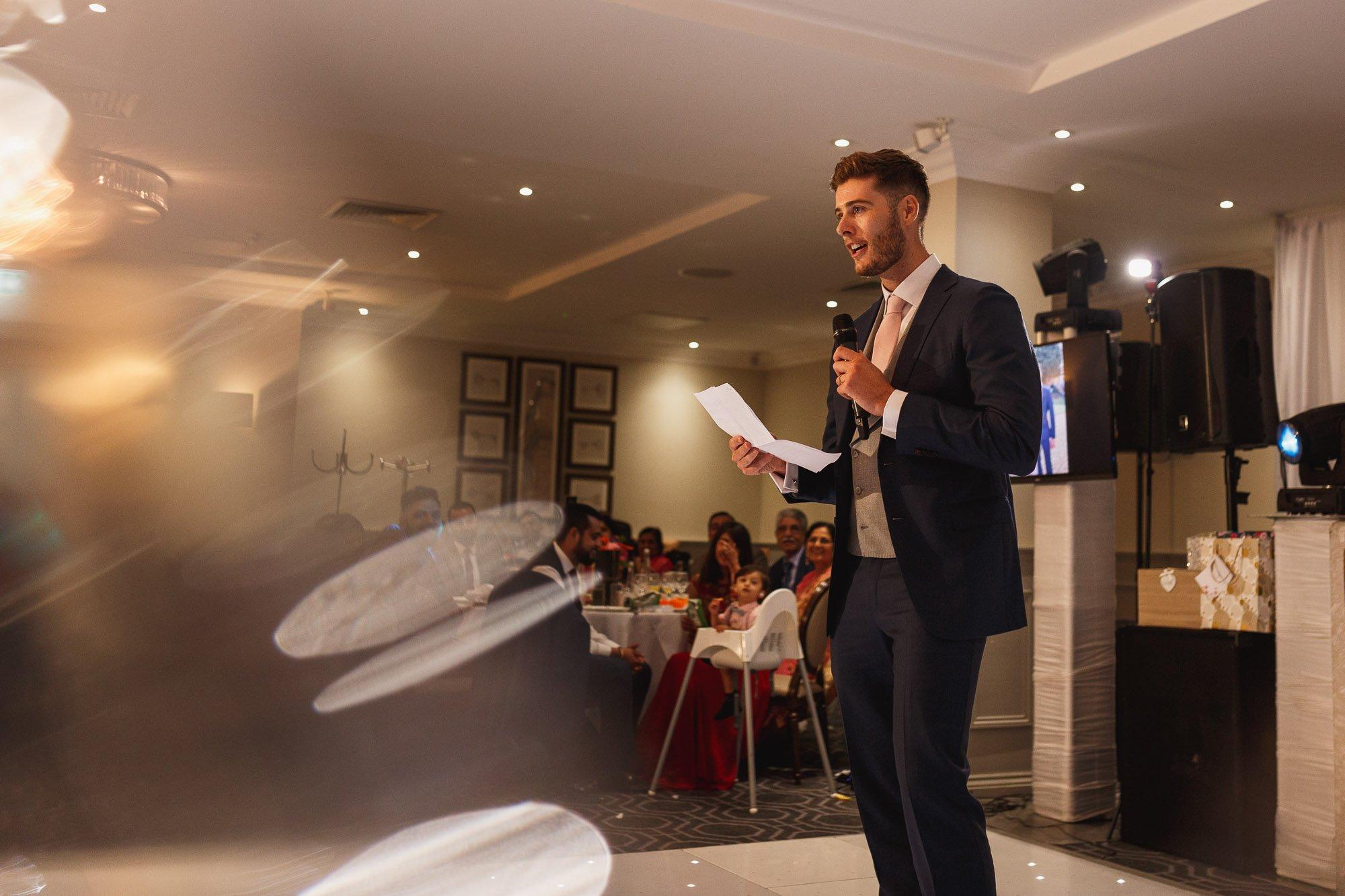 De Vere Wokefield Estate, Asian wedding photographer, reception, grooms speech