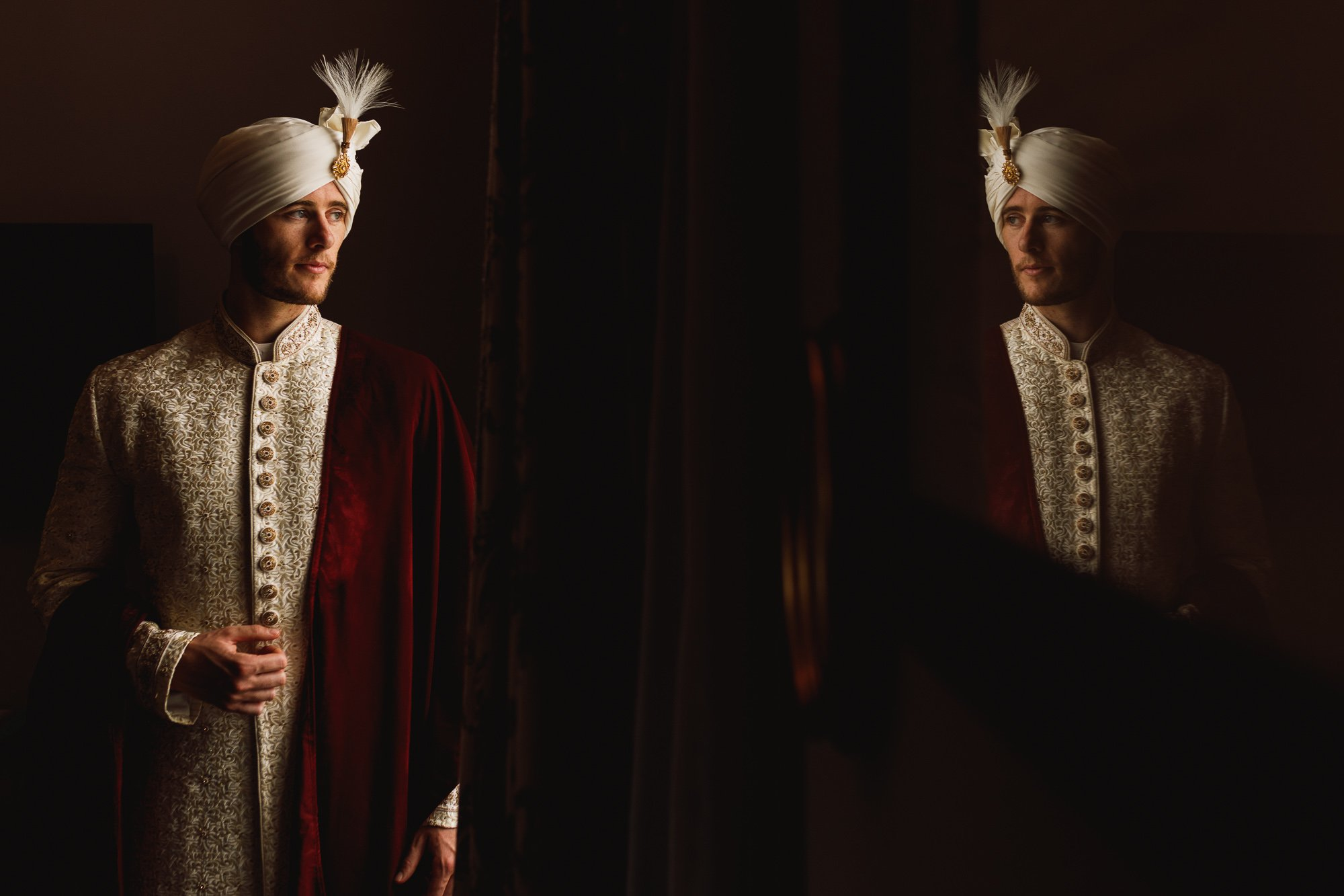 De Vere Wokefield Estate, Asian wedding photographer, groom portrait