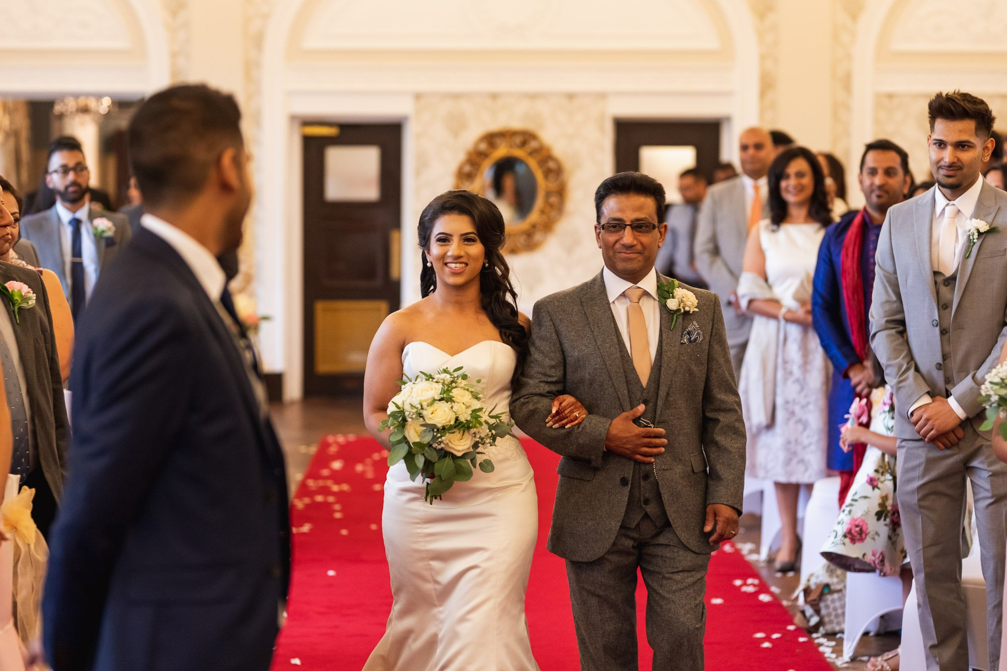 Dunchurch Park Hotel, Asian wedding photographer Midlands, walking down the aisle