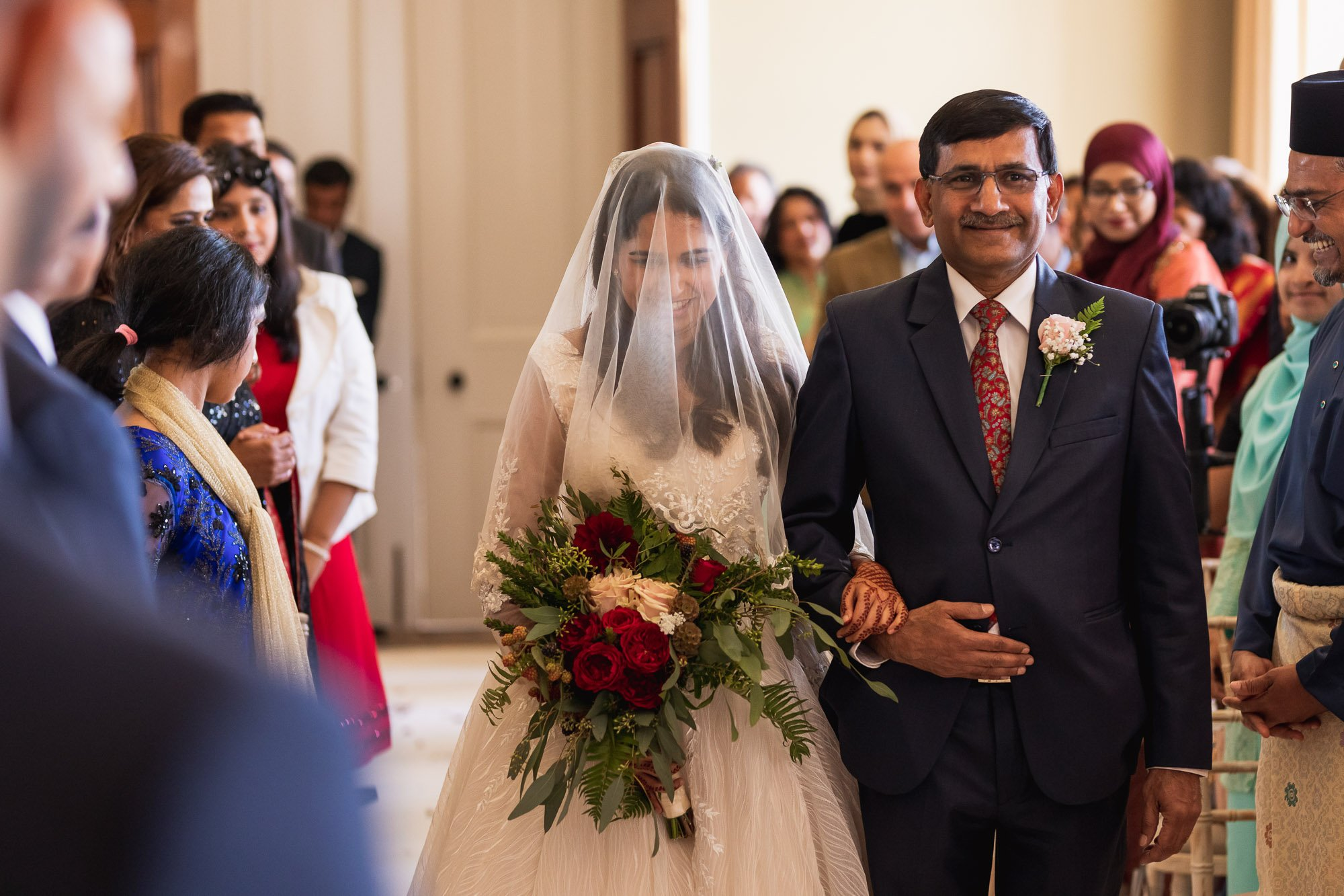 Rudding Park, Yorkshire, Asian Wedding Photography, civil ceremony, bride entrance
