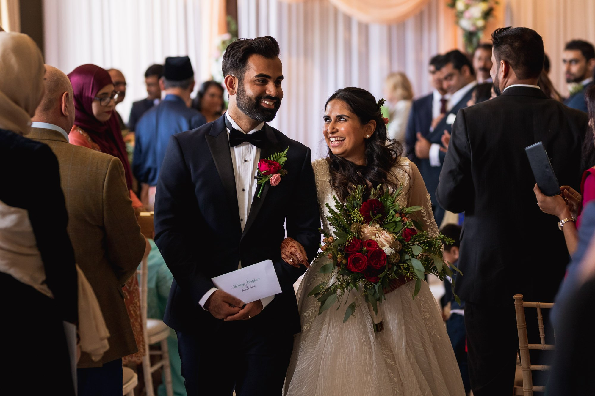 Rudding Park, Yorkshire, Asian Wedding Photography, bride and groom exit