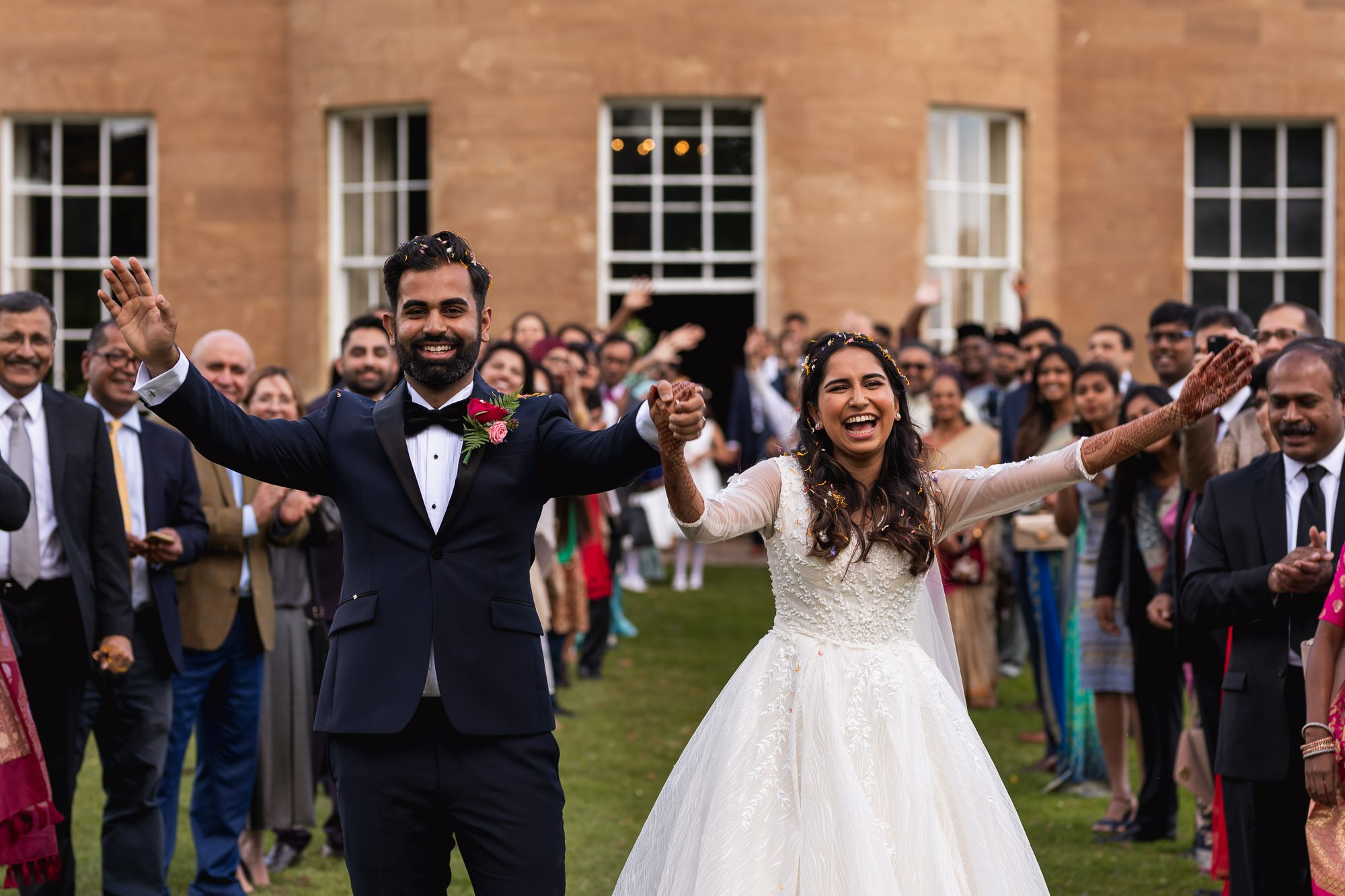 Rudding Park, Yorkshire, Asian Wedding Photography, bride and groom exit, confetti