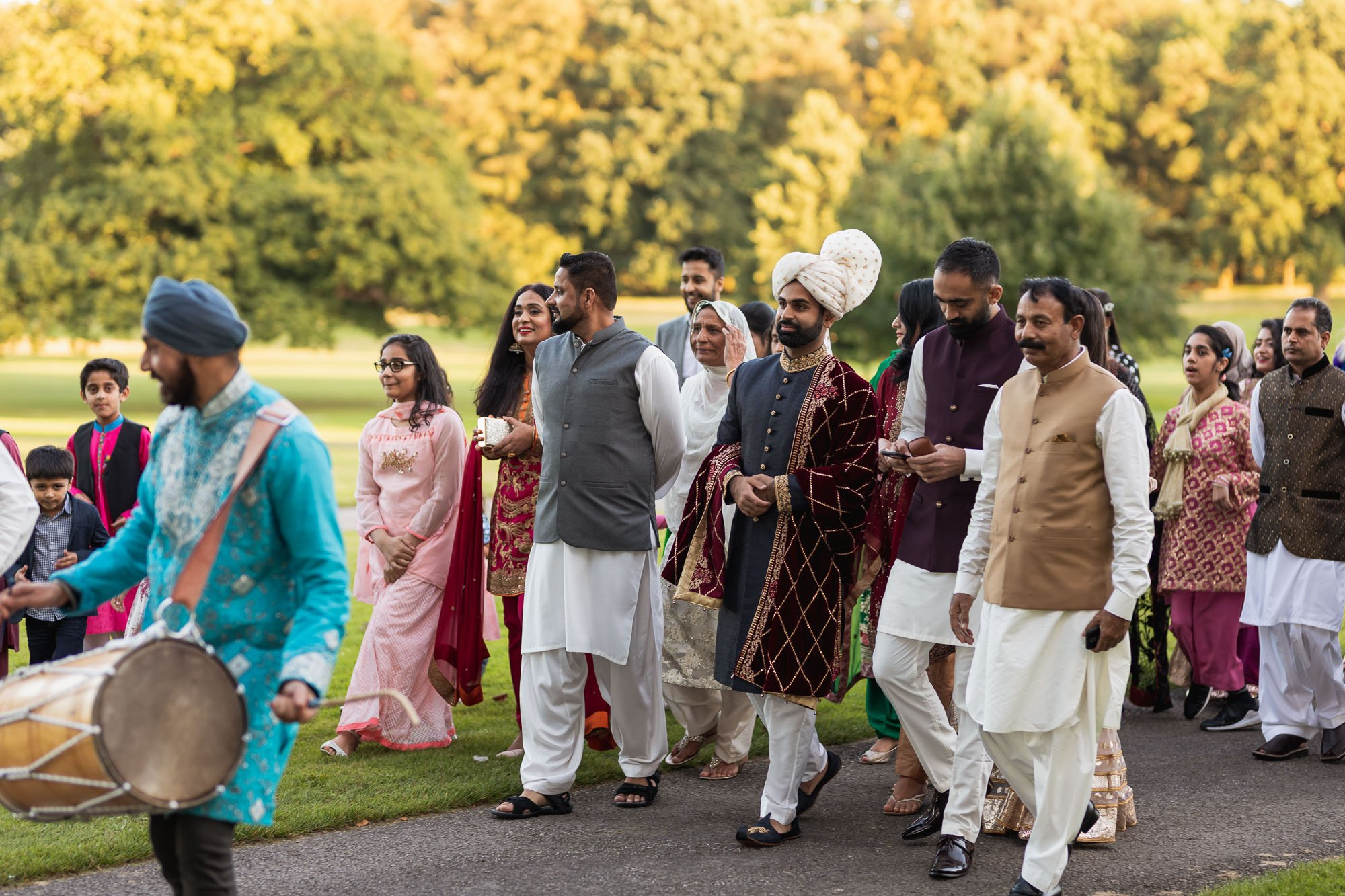Rudding Park, Yorkshire, Asian Wedding Photography, Bharat entrance, dhol players