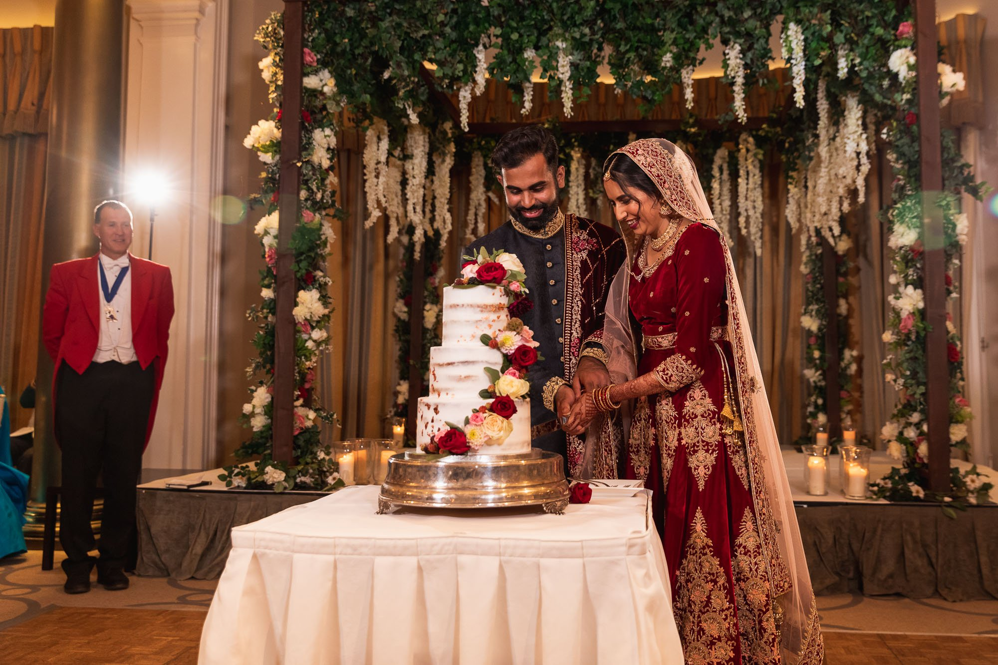 Rudding Park, Yorkshire, Asian Wedding Photography, cake cutting