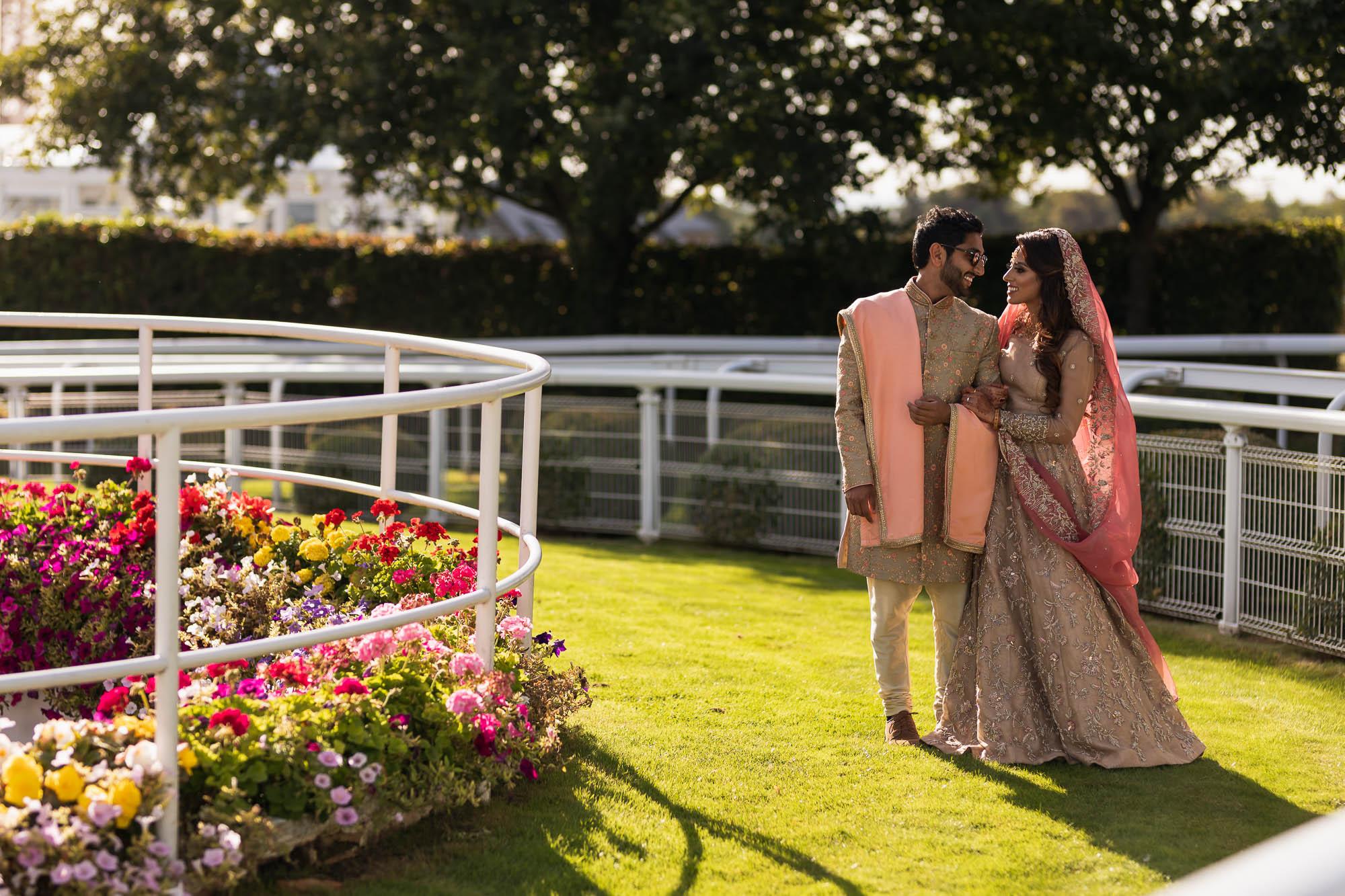 Epsom Racecourse, Surrey, Asian wedding photographer, bride and groom portrait