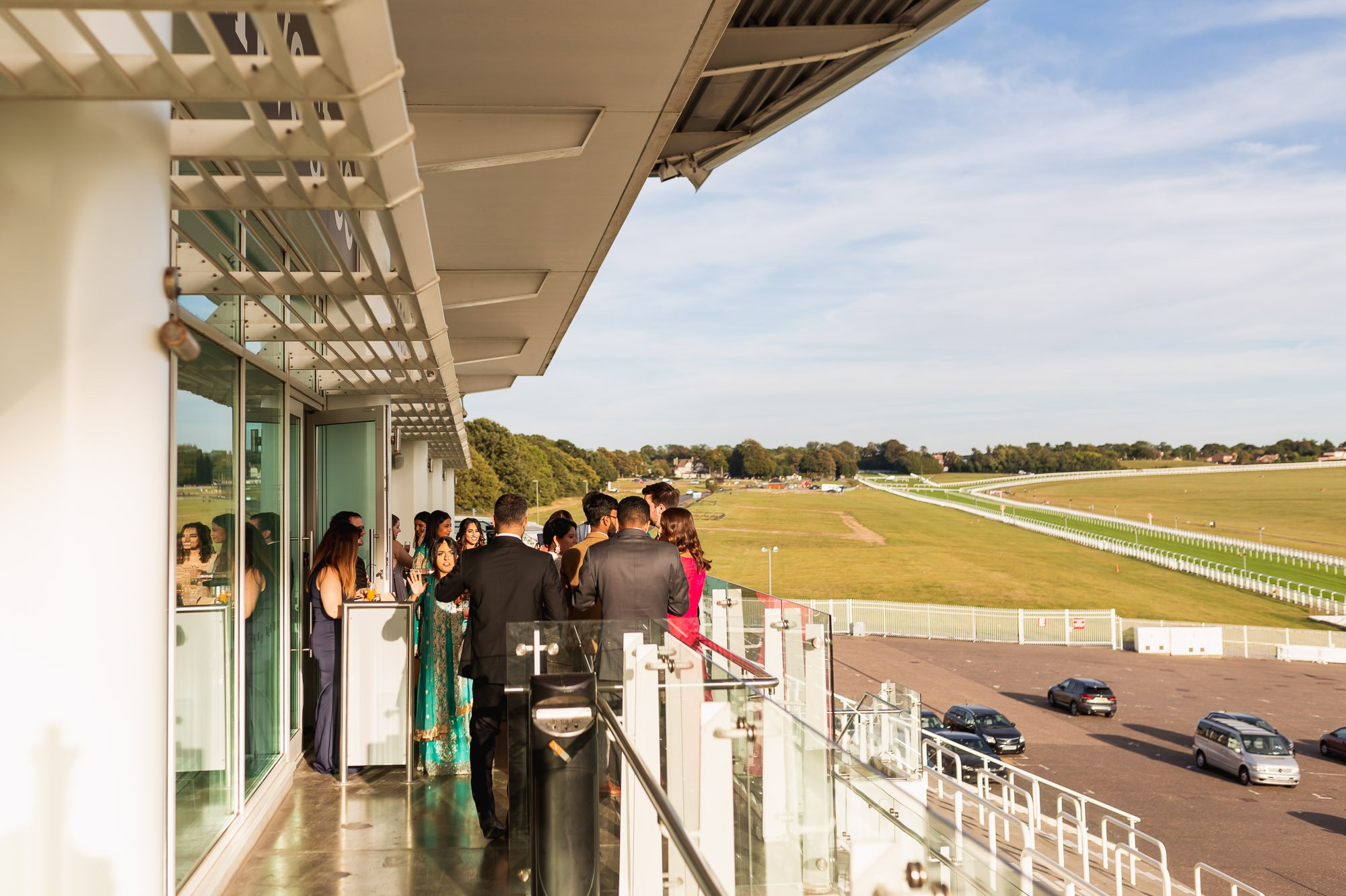Epsom Racecourse, Surrey, Asian wedding photographer, venue balcony
