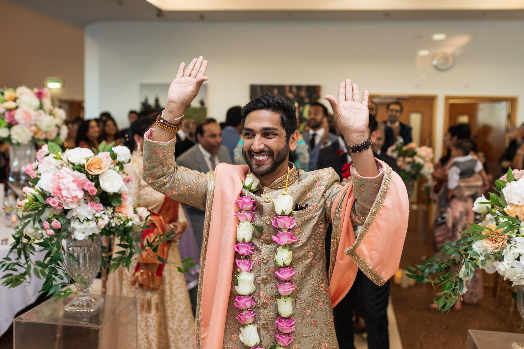 Epsom Racecourse, Surrey, Asian wedding photographer, grooms arrival
