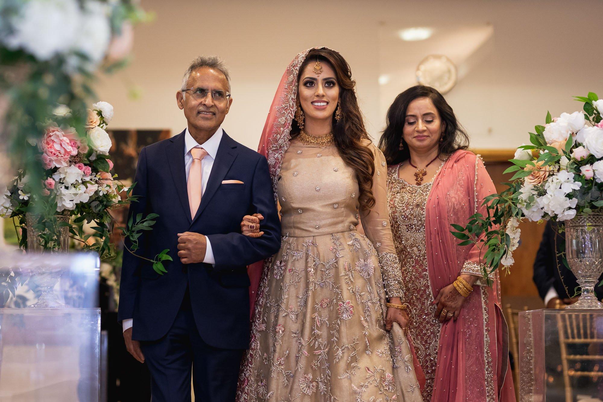 Epsom Racecourse, Surrey, Asian wedding photographer, brides arrival