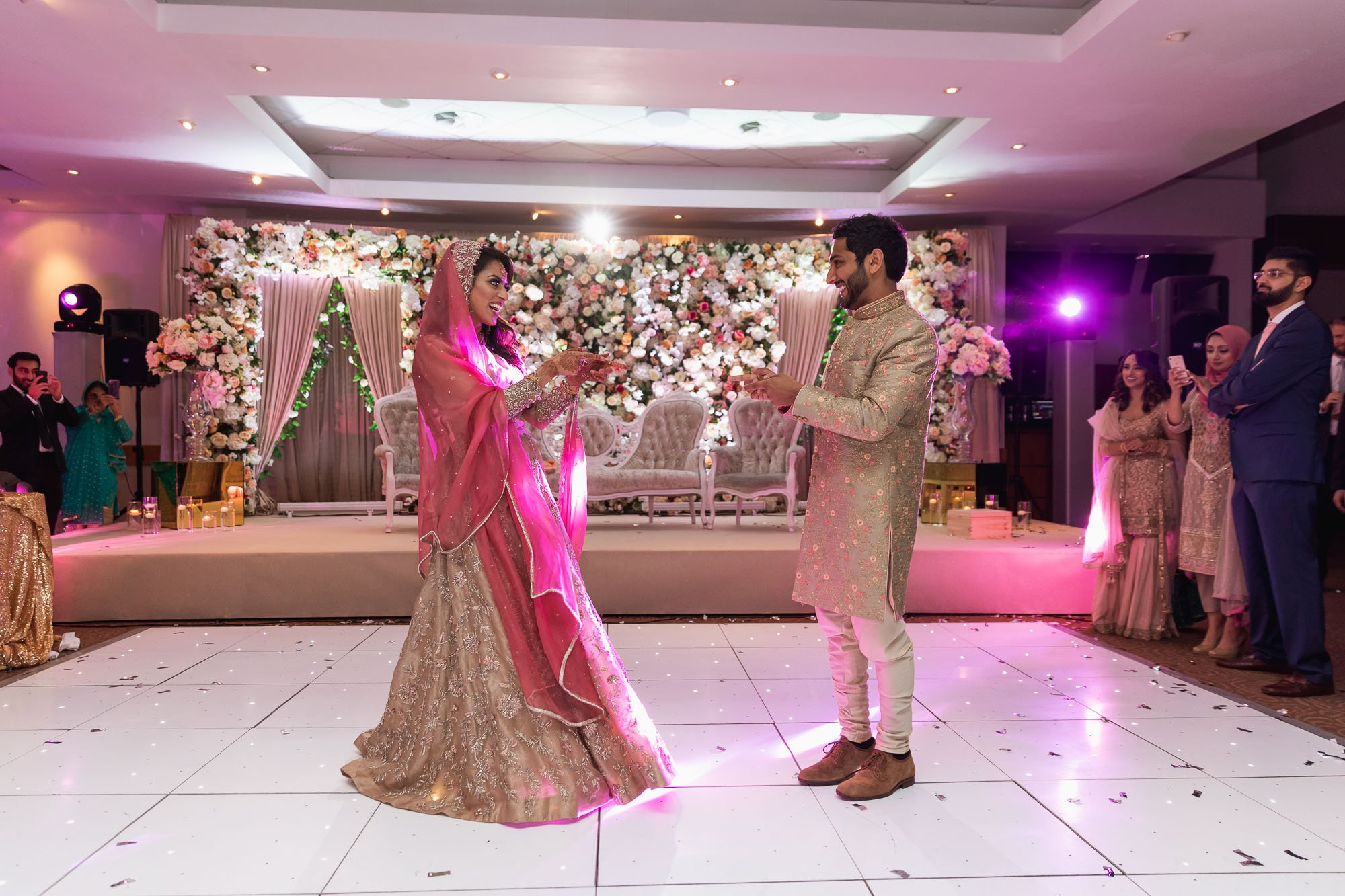 Epsom Racecourse, Surrey, Asian wedding photographer, first dance