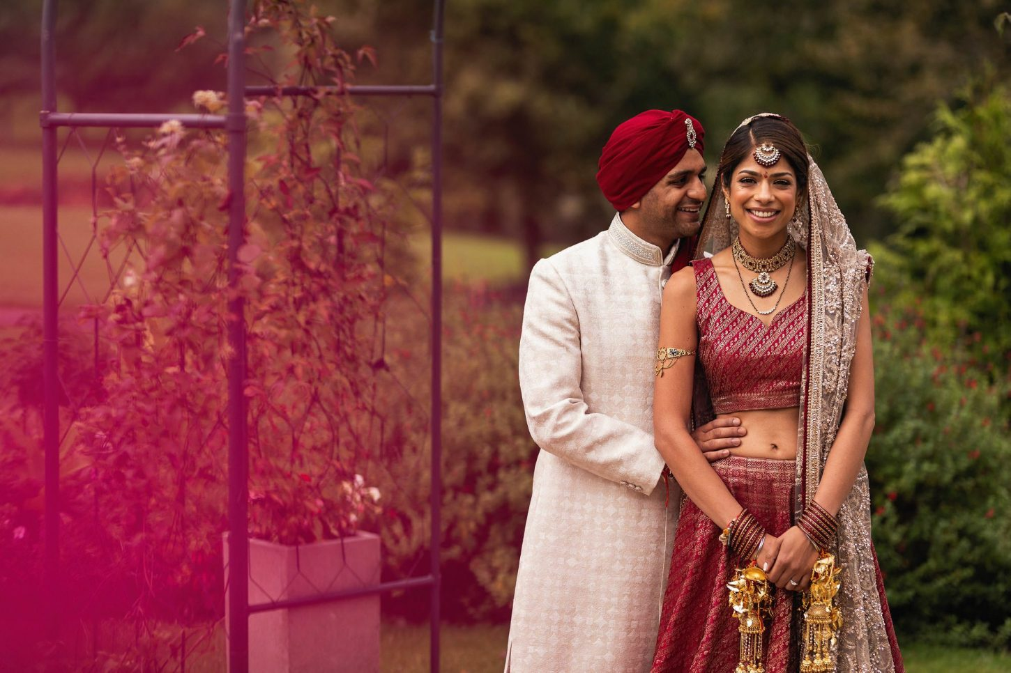The Vale Resort, Cardiff, Asian wedding photographer, bride and groom portrait