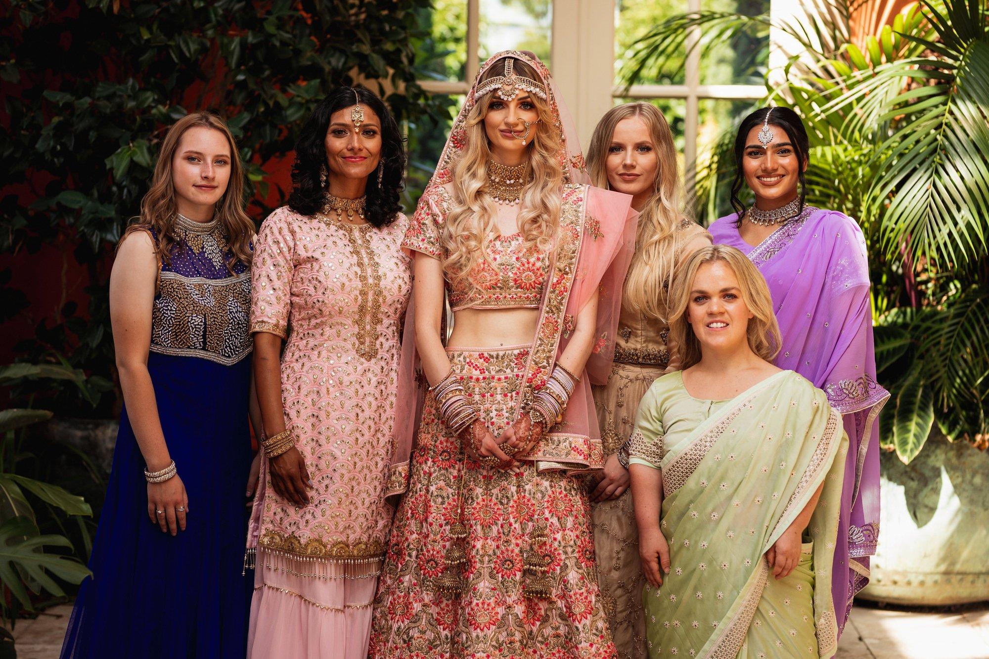 Euridge Manor, Cotswolds, Indian bride, bridesmaids portrait, Asian Wedding Photography
