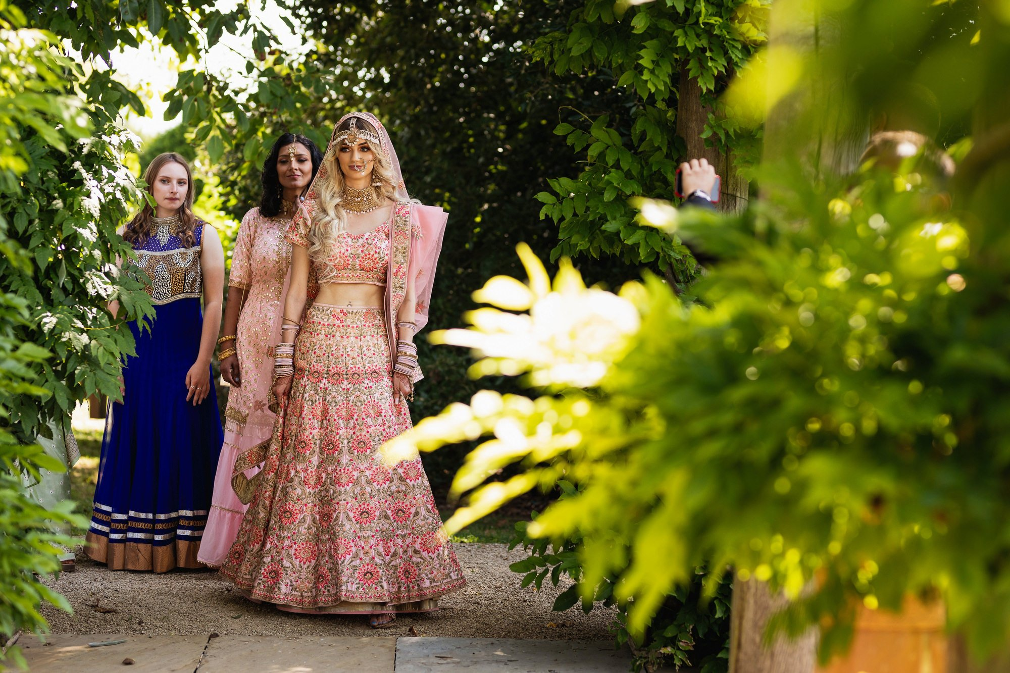 Euridge Manor, Cotswolds, Indian bride entrance, bridesmaids, Asian Wedding Photography