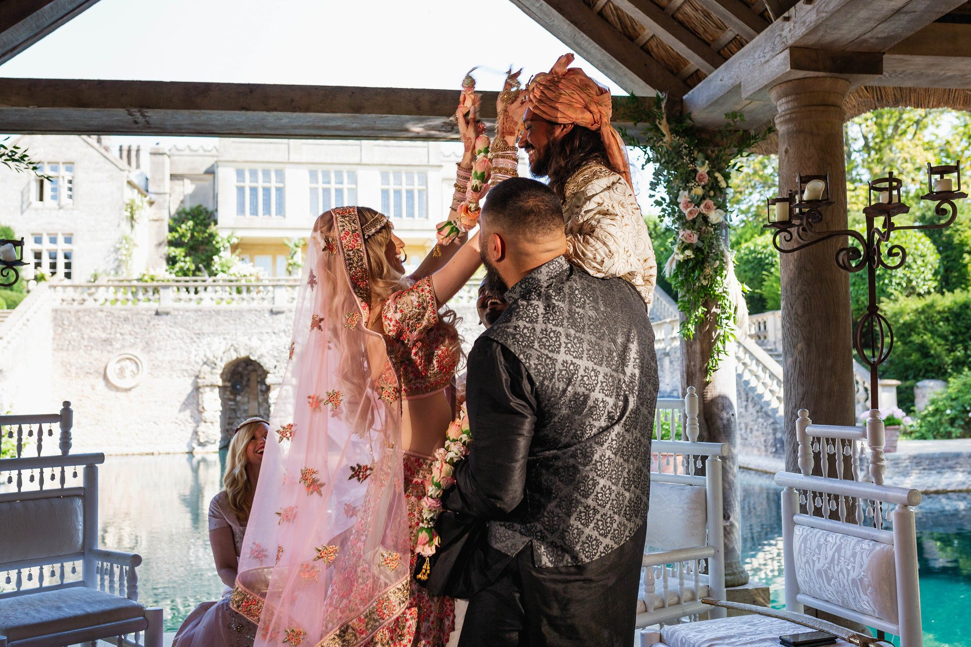 Euridge Manor, Cotswolds, Hindu wedding ceremony, varmala, garlands, Asian Wedding Photography