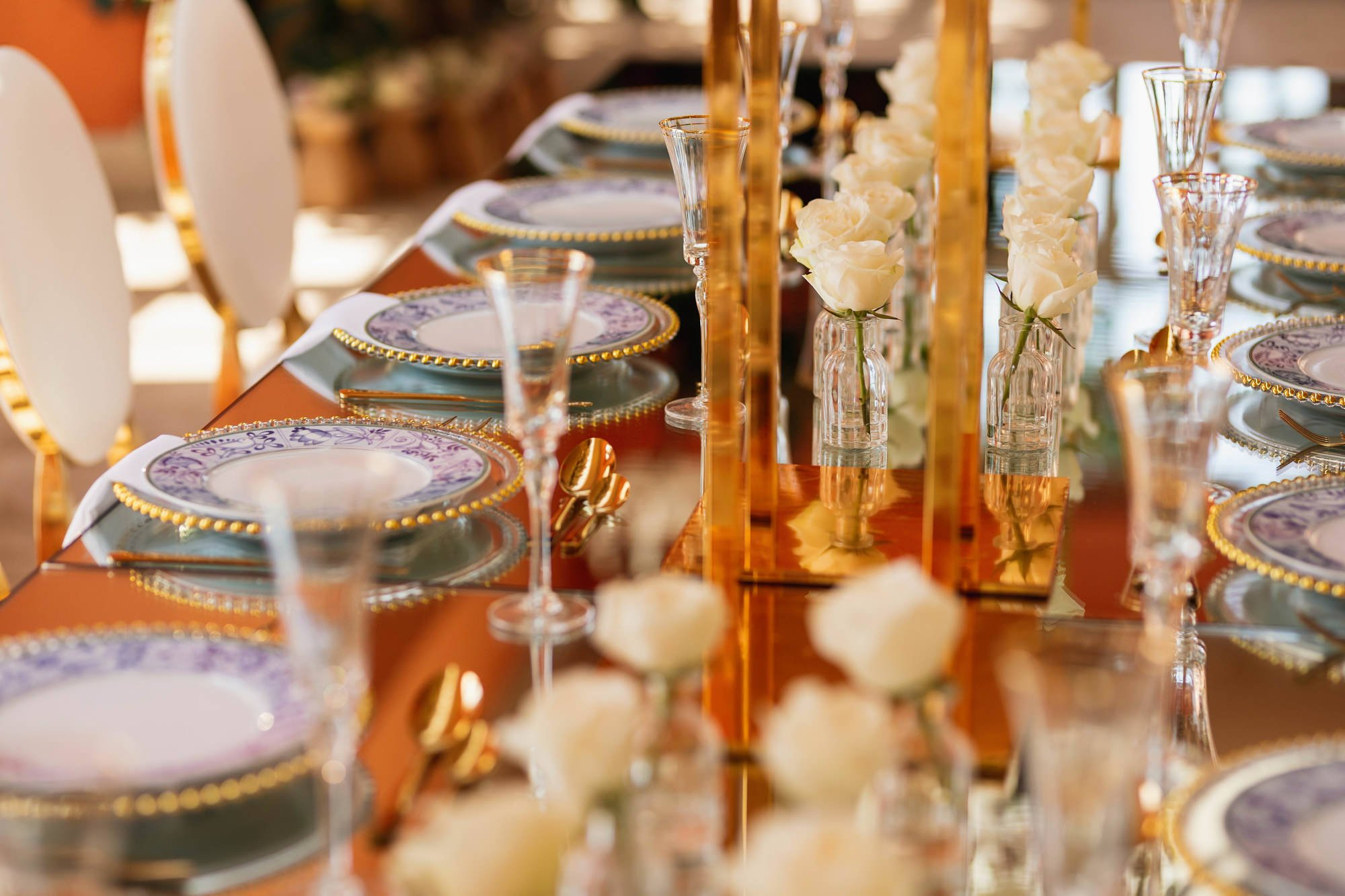 Euridge Manor, Cotswolds, reception, table setting, orangery, Asian Wedding Photography