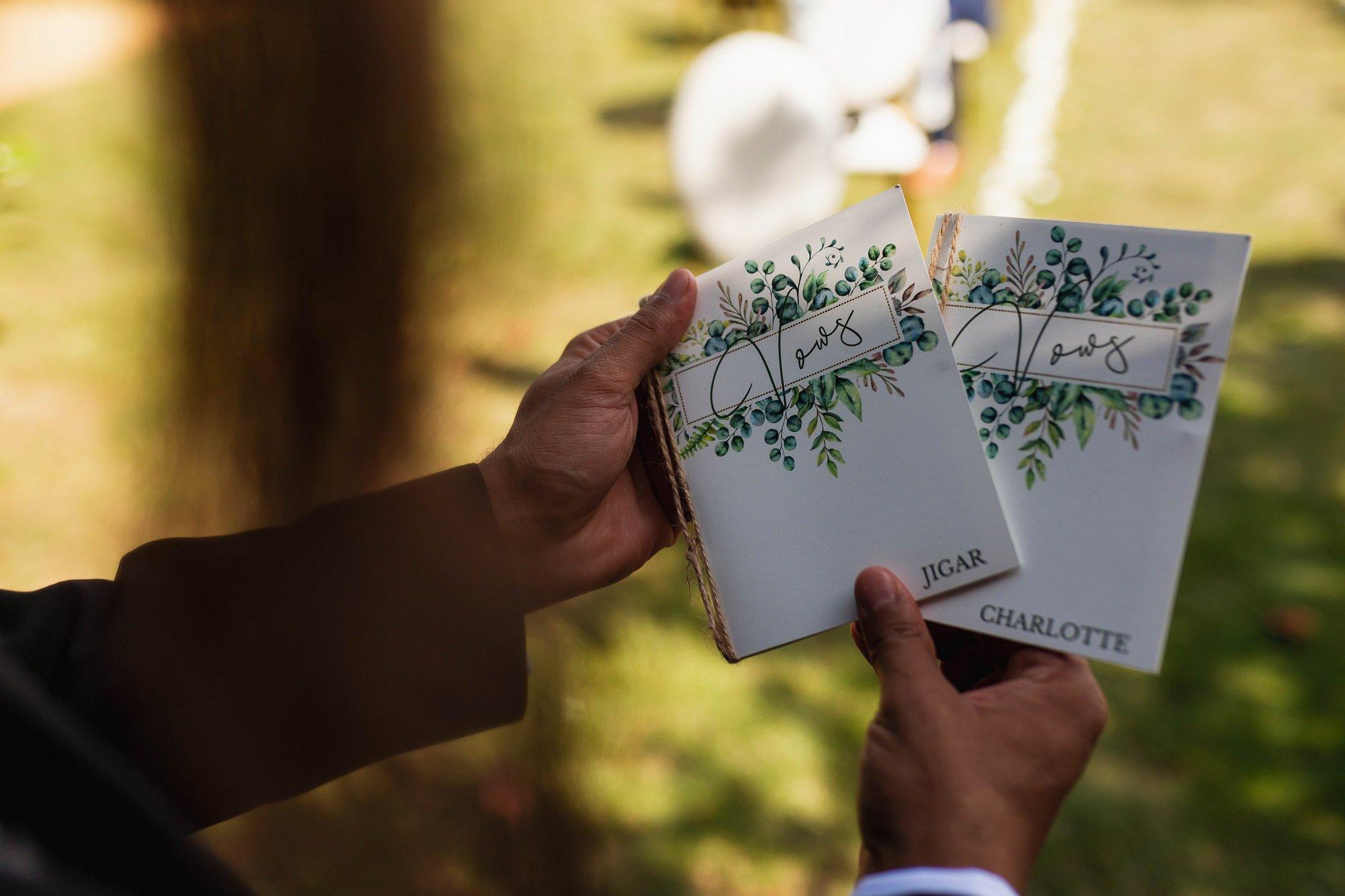 Euridge Manor, Cotswolds, civil ceremony, vows book, Cotswolds wedding photographer