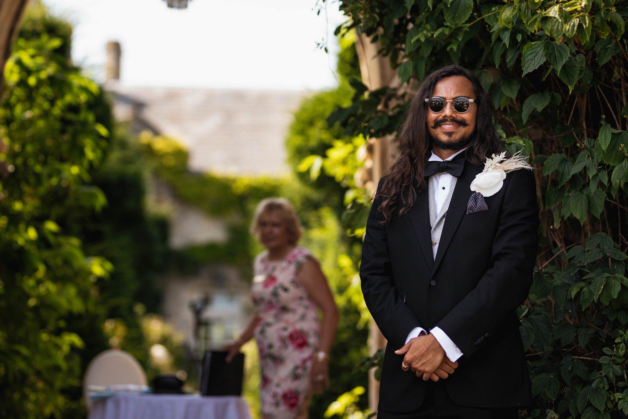 Euridge Manor, Cotswolds, civil ceremony, groom waiting, Cotswolds wedding photographer