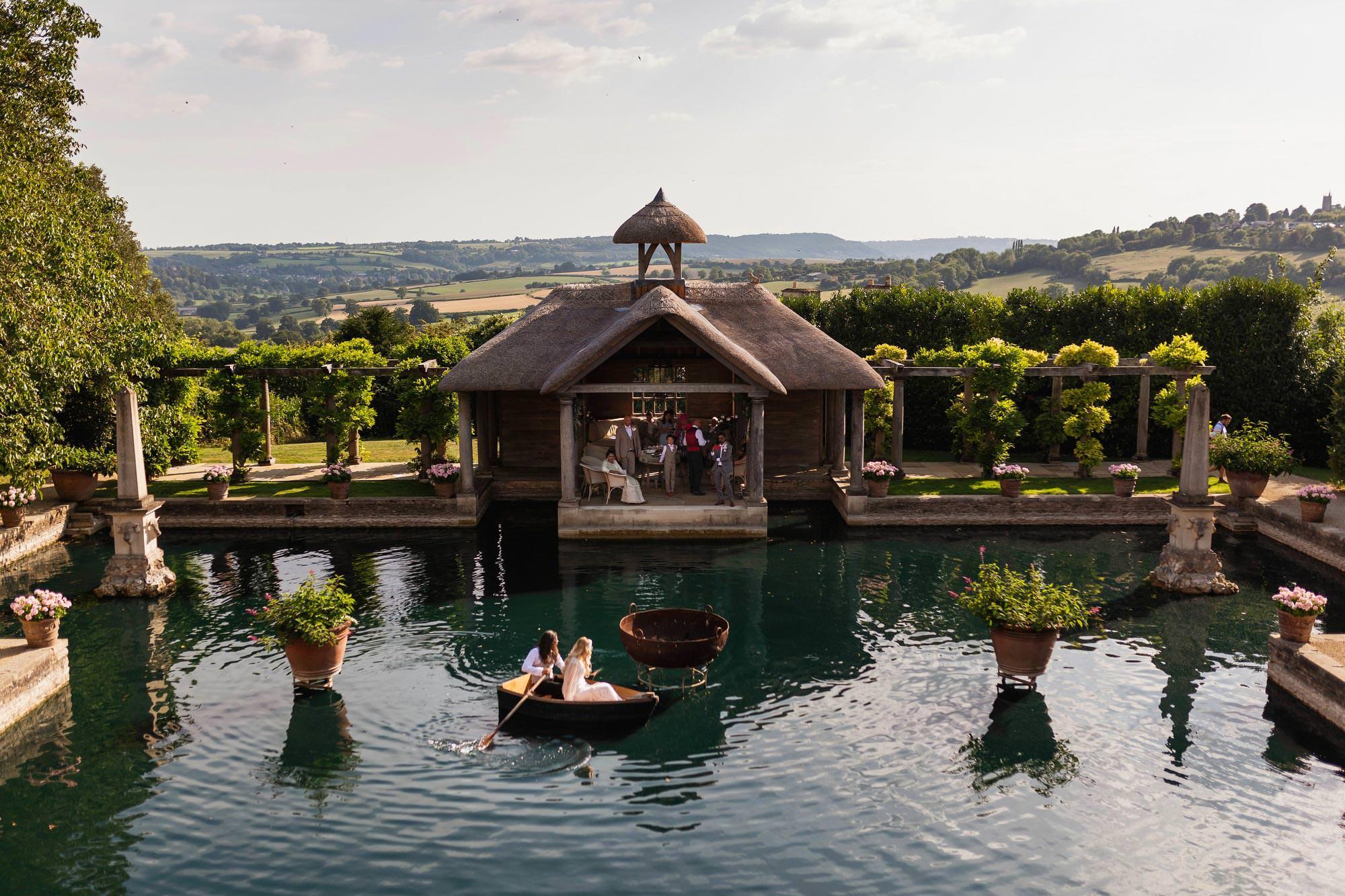 Euridge Manor, Cotswolds, paddle boat, lake, Cotswolds wedding photographer