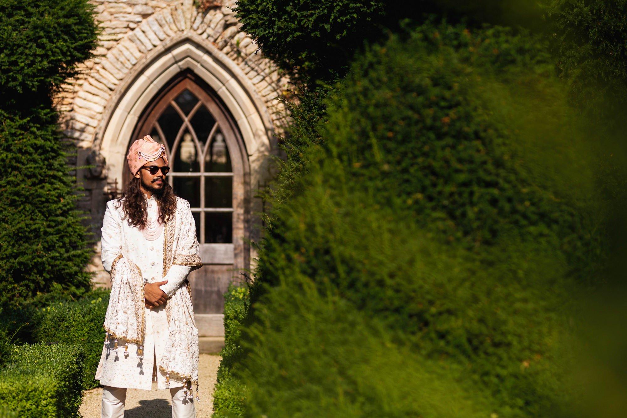 Euridge Manor, Cotswolds, Indian Groom portrait, Asian Wedding Photography