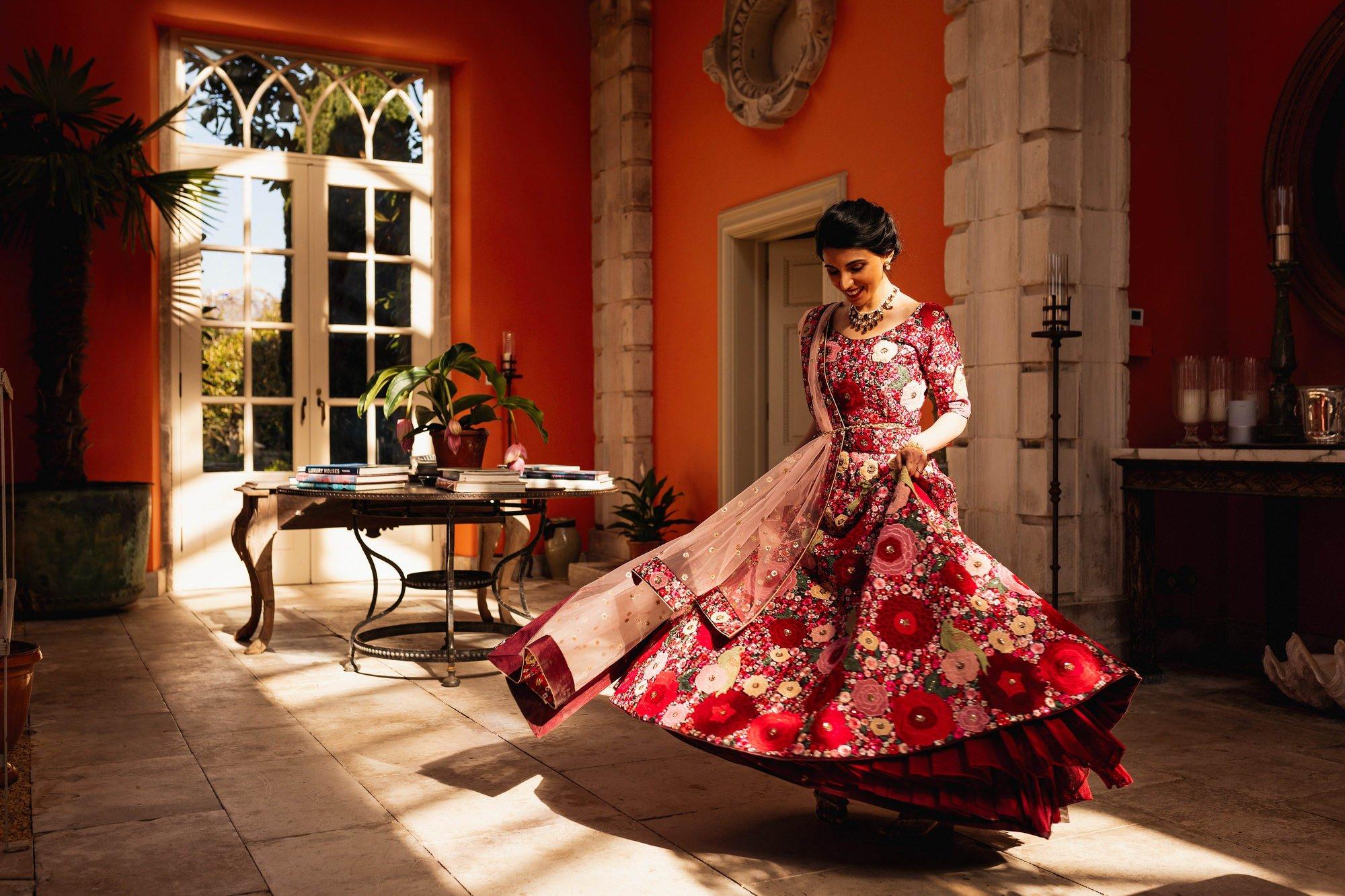 Indian wedding, bride portrait, Euridge Manor, Cotswolds, Asian wedding photographer