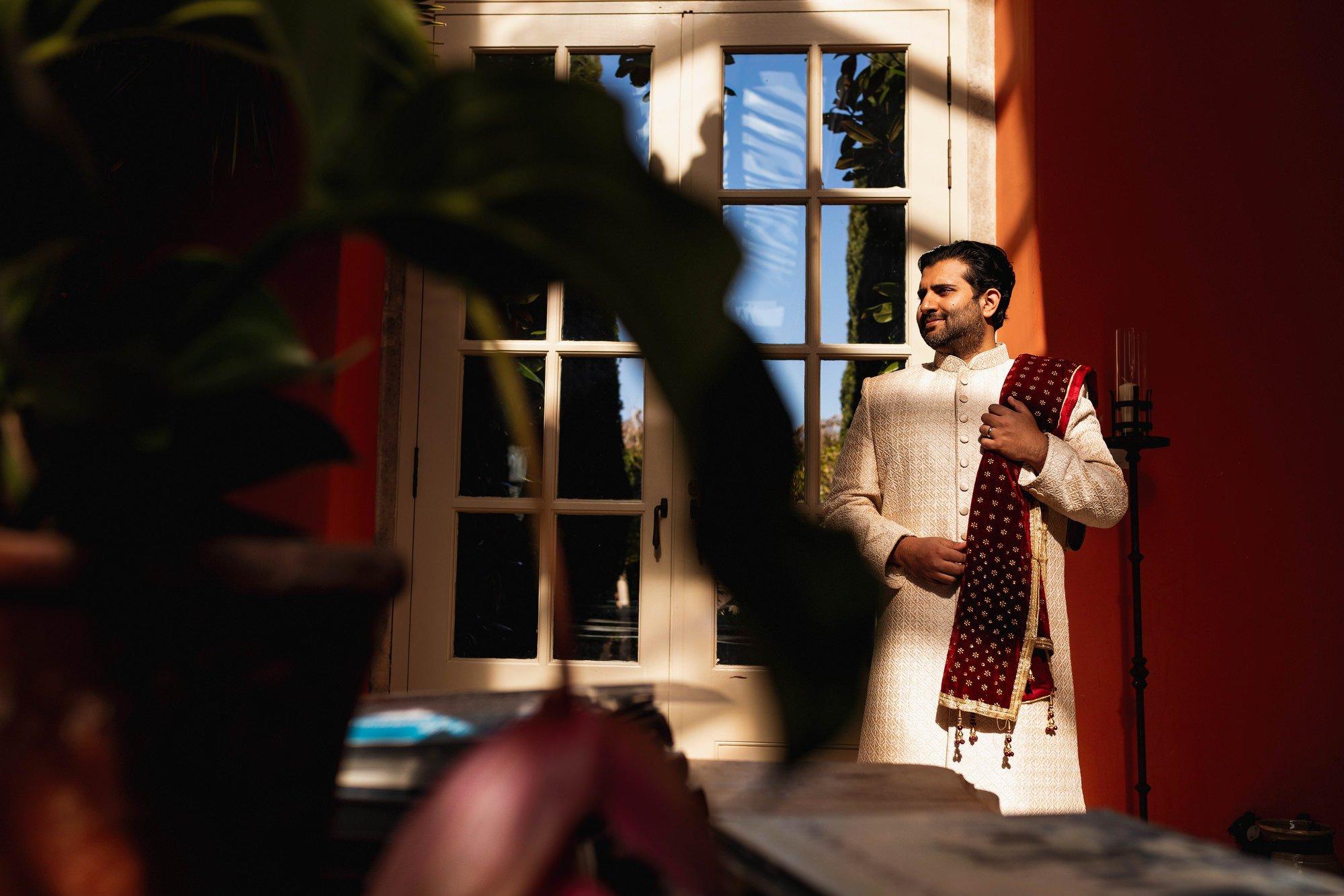 Indian wedding, grooms portrait, Euridge Manor, Cotswolds, Asian wedding photographer