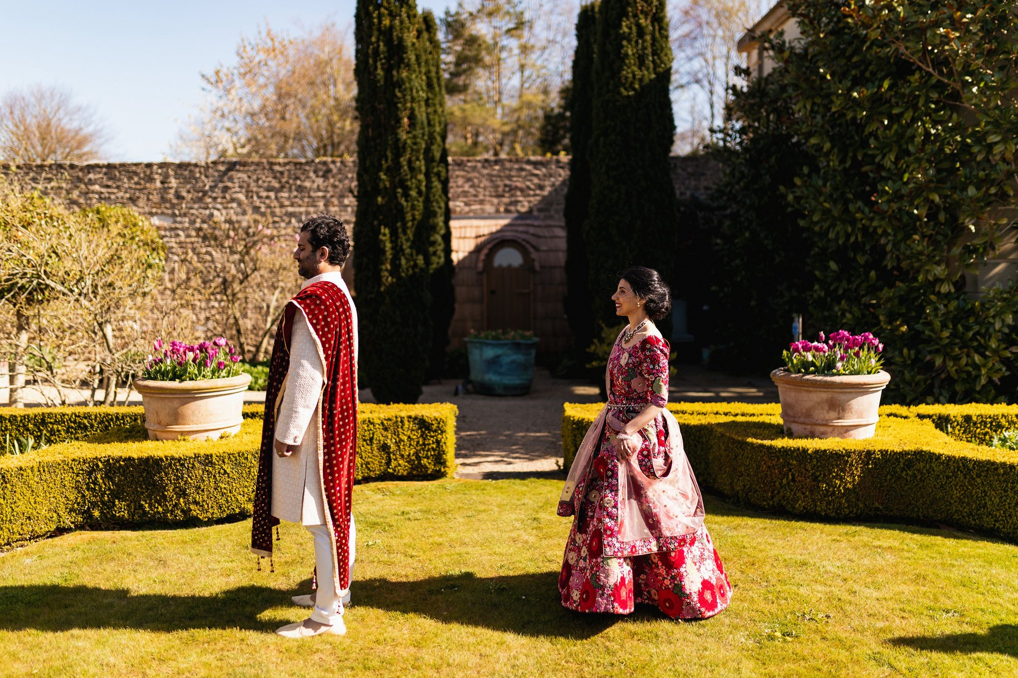Indian wedding, first look, Euridge Manor, Cotswolds, Asian wedding photographer