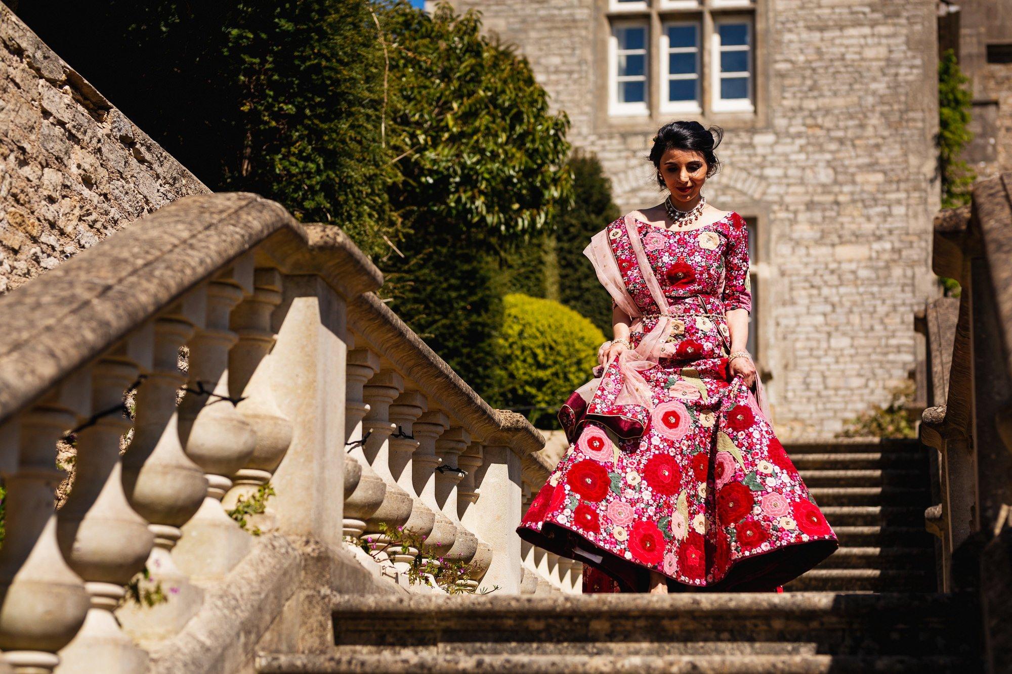 Indian wedding, bride arrival, Euridge Manor, Cotswolds, Asian wedding photographer