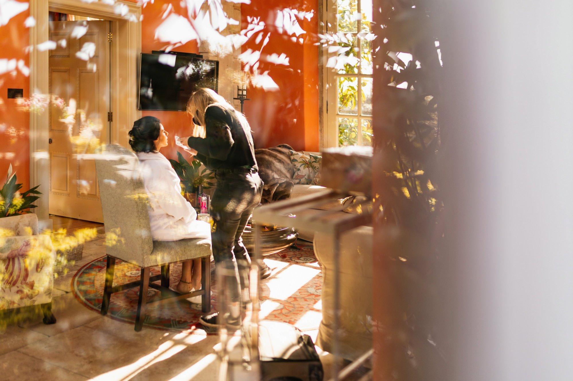Indian wedding, bride getting ready, Euridge Manor, Cotswolds, Asian wedding photographer